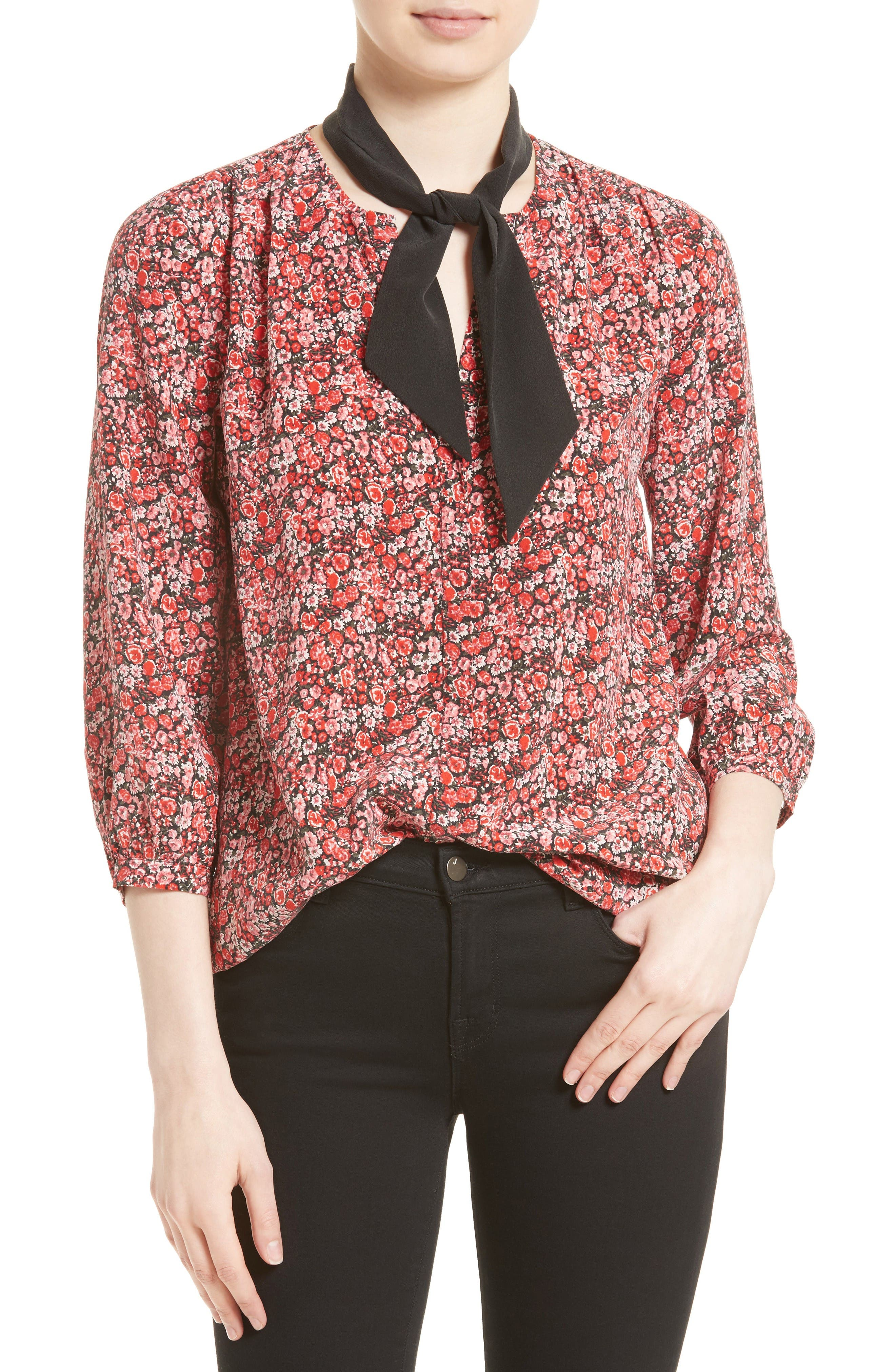Alternate Image 1 Selected - Joie Elick Tie Neck Silk Blouse