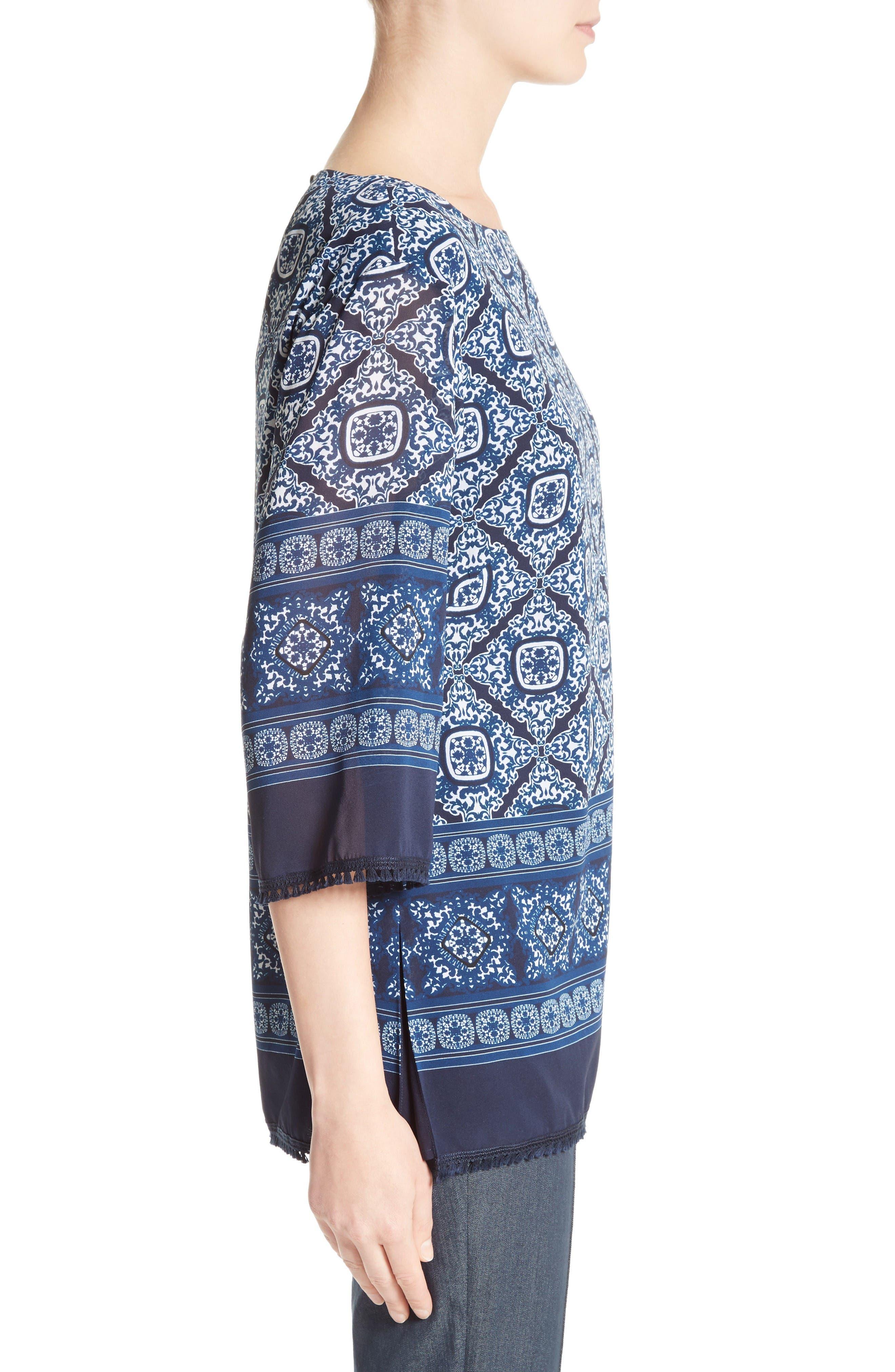 Alternate Image 4  - St. John Collection Jaipur Tile Print Stretch Silk Blouse