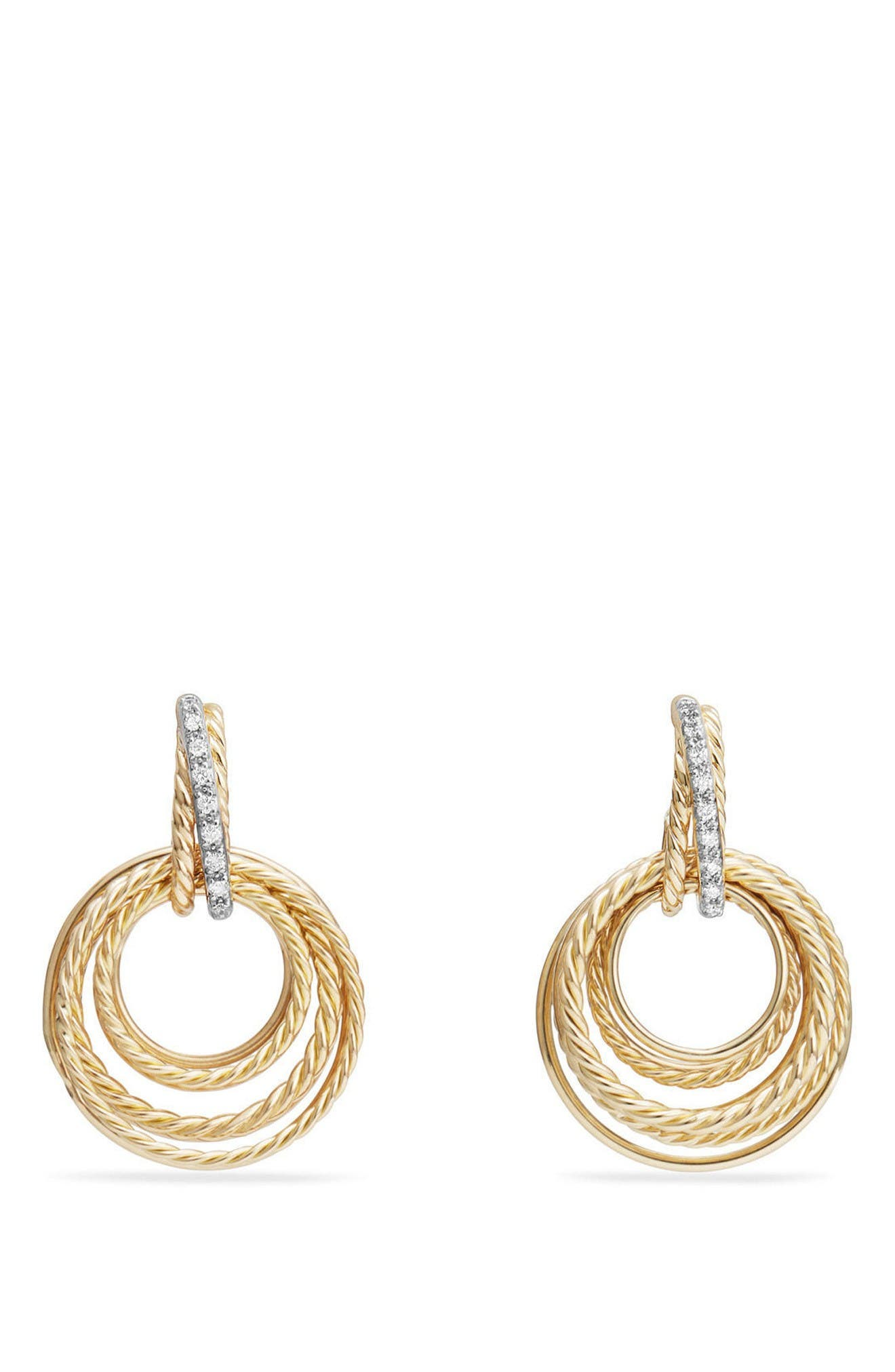 Crossover Diamond Drop Earrings,                         Main,                         color, Yellow Gold/ Diamond