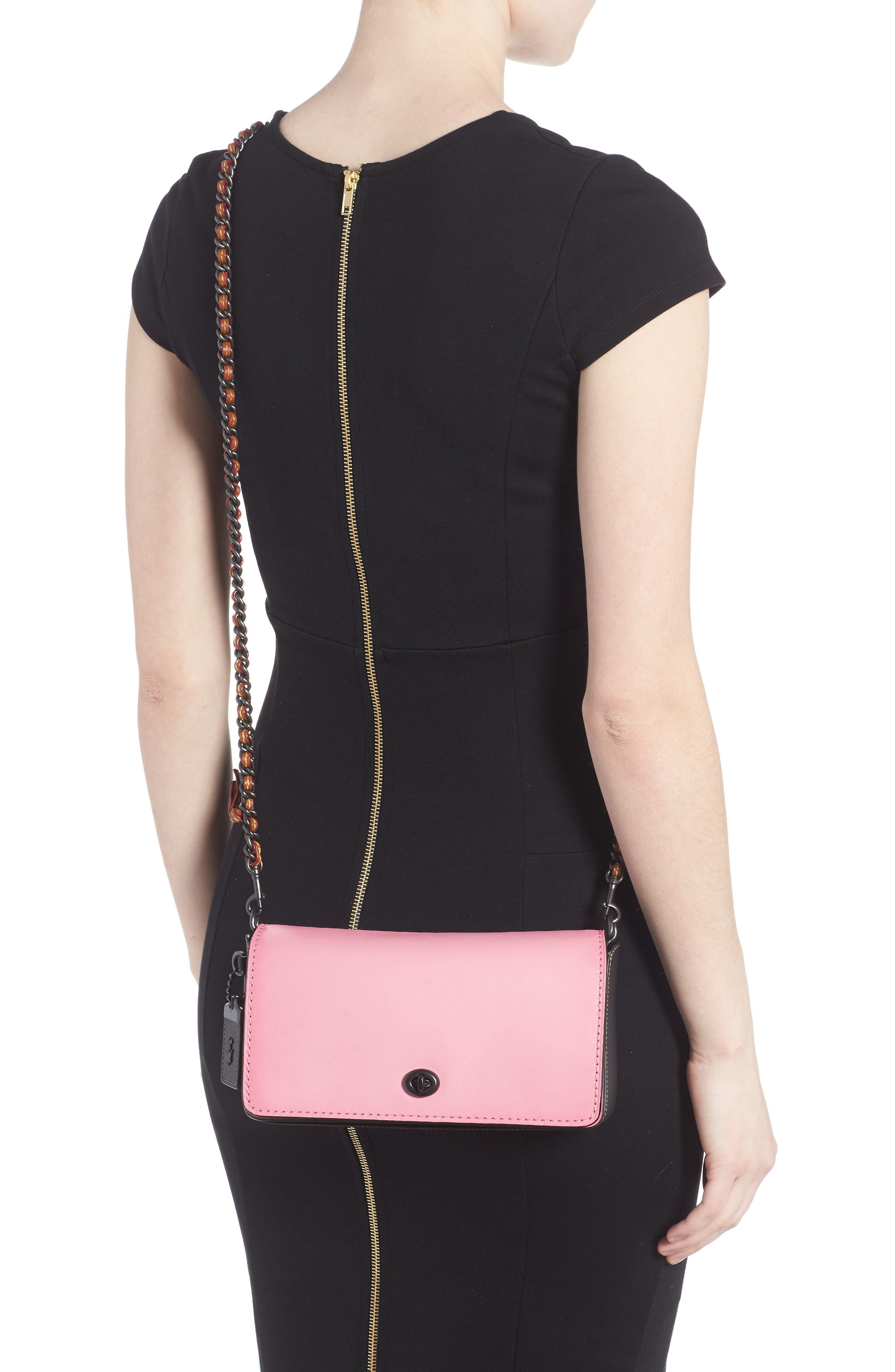 Dinky Leather Crossbody Bag,                             Alternate thumbnail 2, color,                             Petal Black