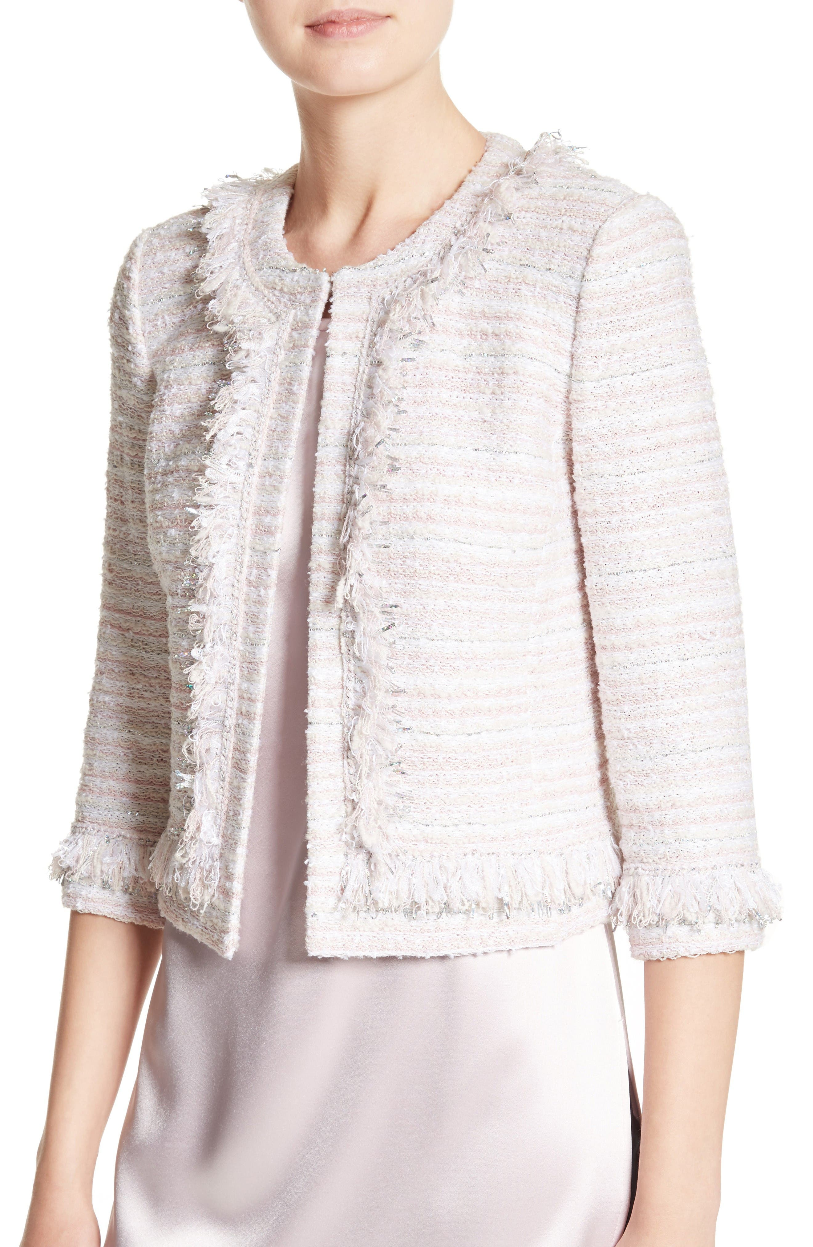 Alternate Image 4  - St. John Collection Padmesh Tweed Knit Fringe Jacket