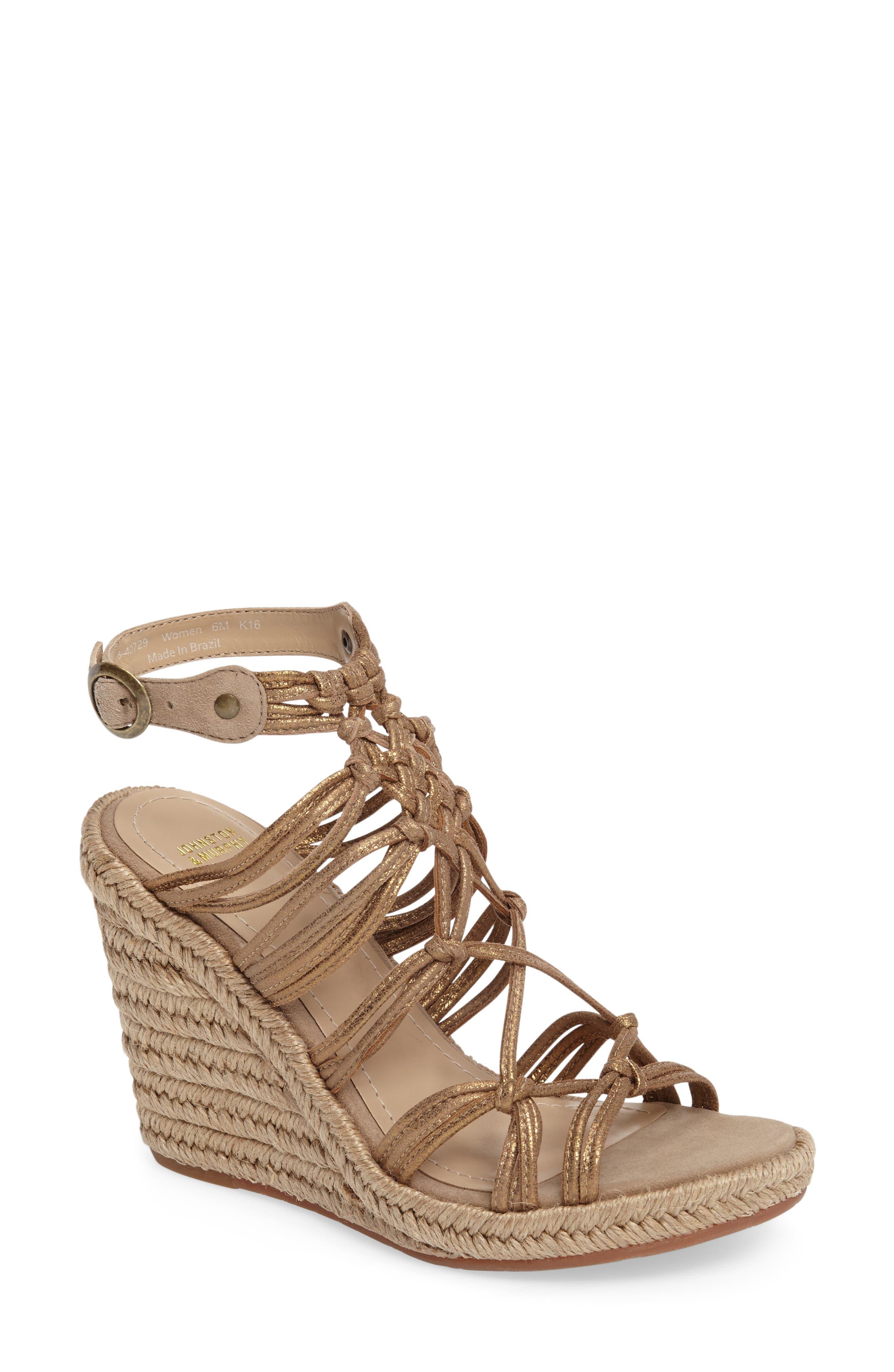 Johnston & Murphy Mindy Woven Wedge Sandal (Women)