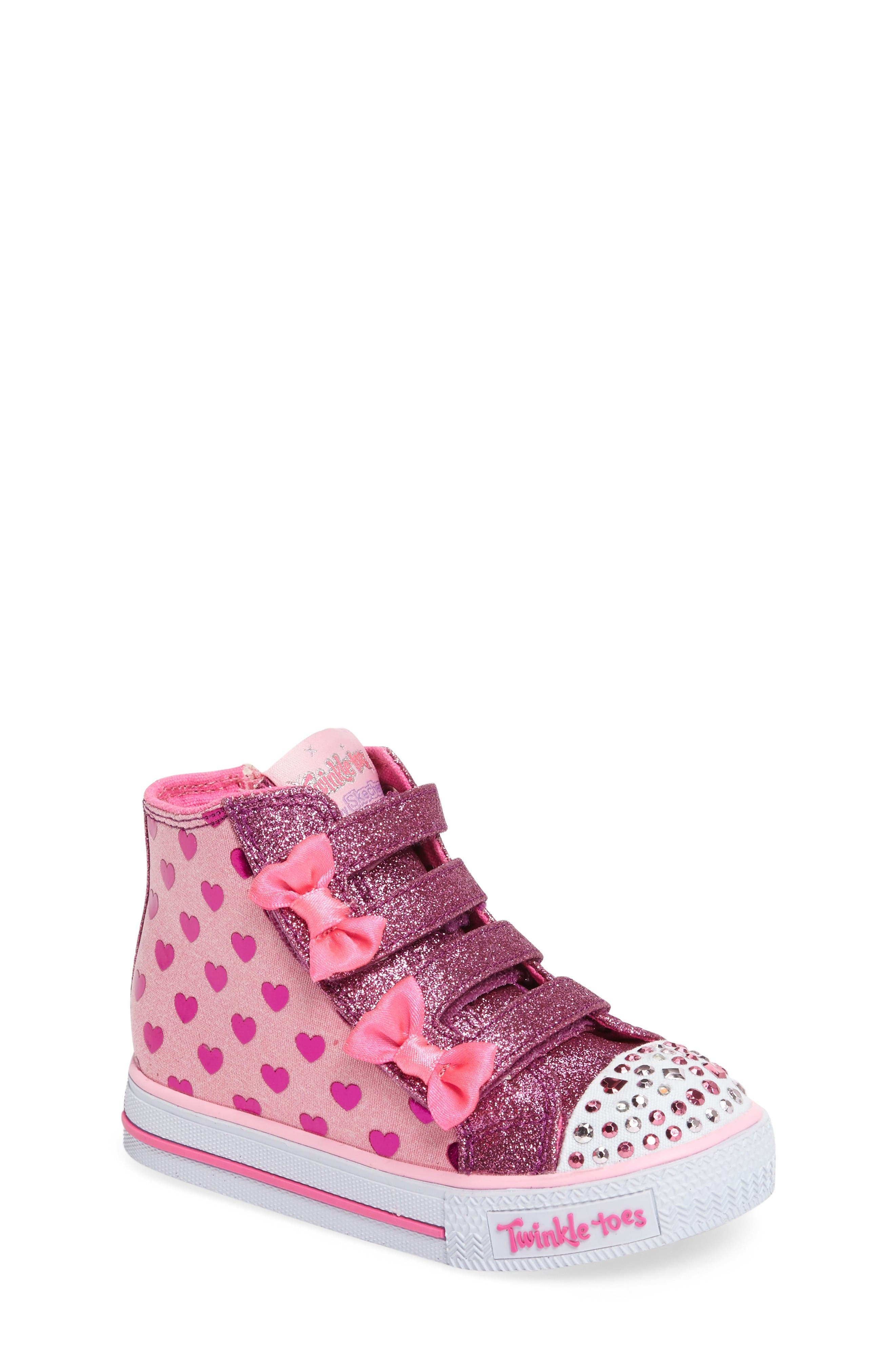 'Twinkle Toes - Shuffles' High Top Sneaker,                             Main thumbnail 1, color,                             Pink/ Hot Pink