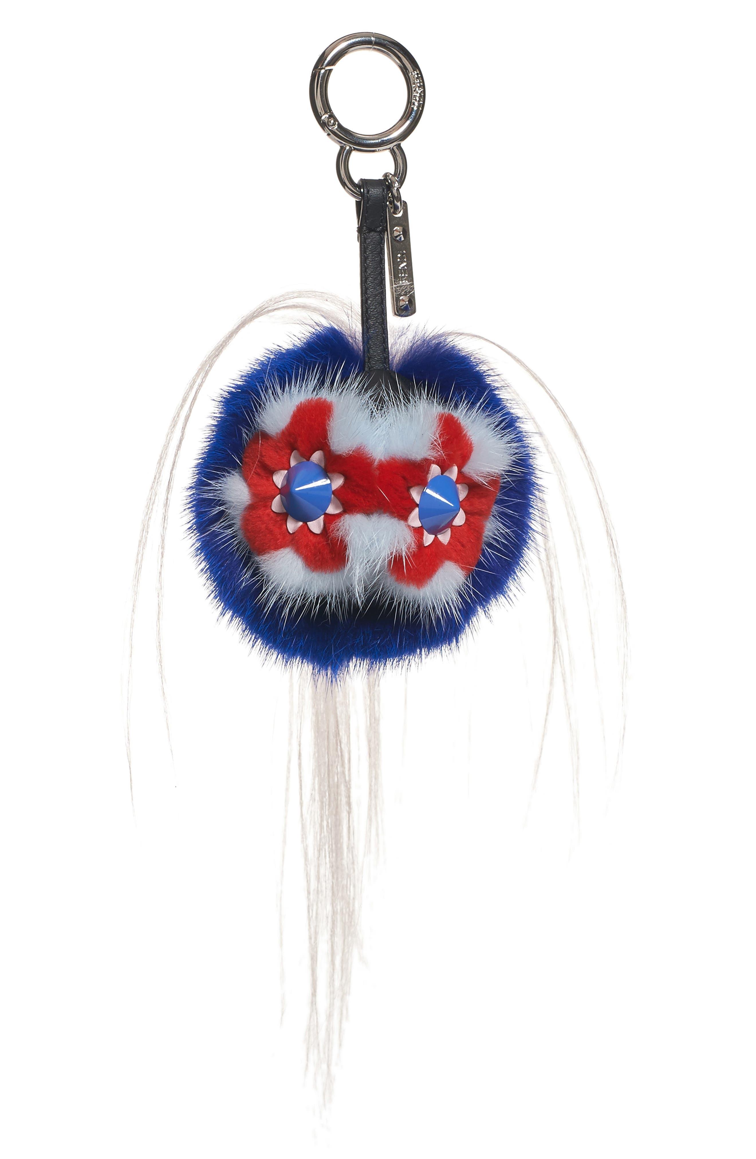 Monster Genuine Mink & Goat Fur Bag Charm,                         Main,                         color, Blue Multi