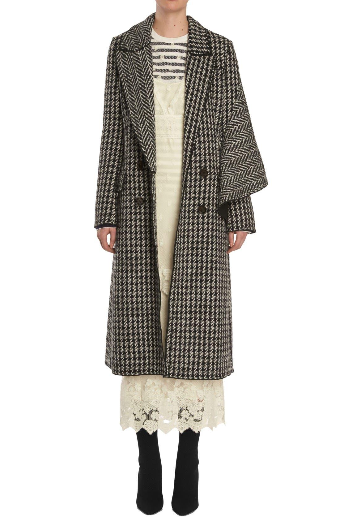 Houndstooth Wool Coat,                         Main,                         color, Black