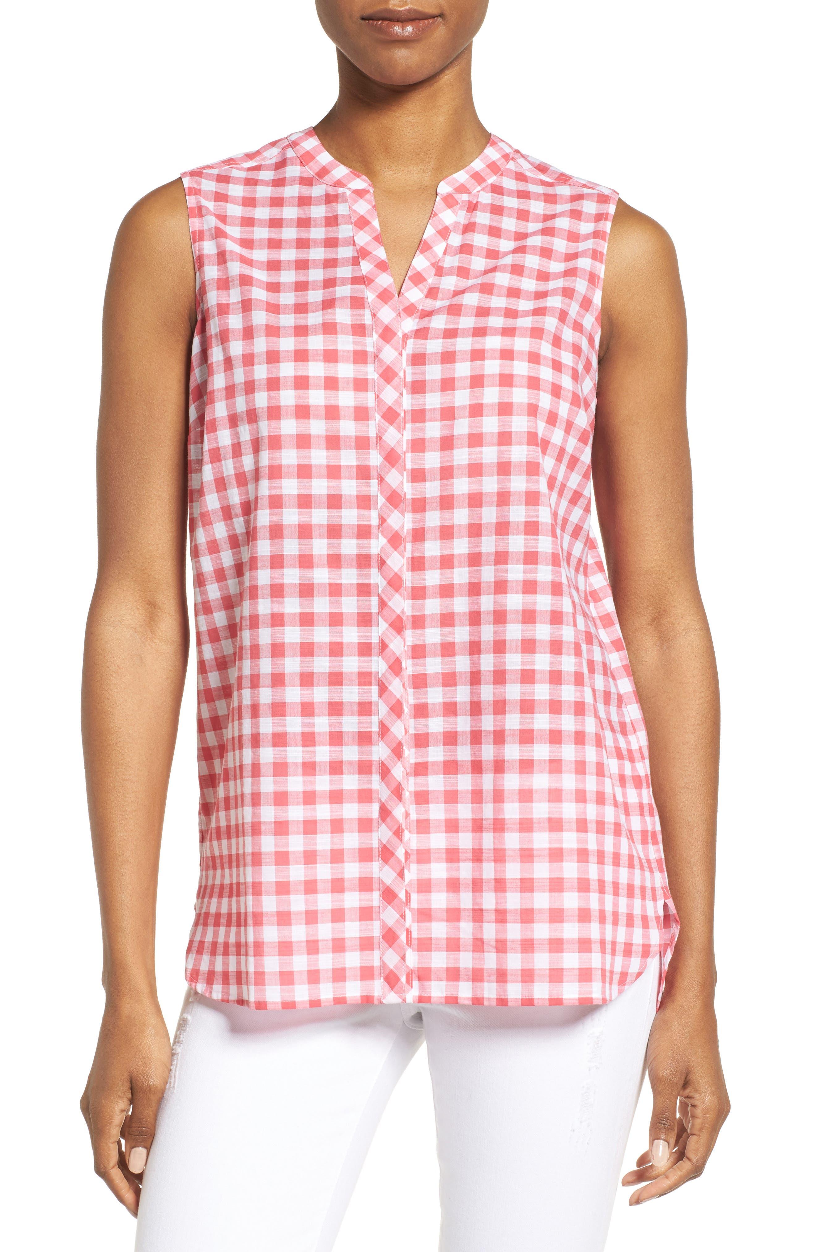 Gingham Sleeveless Shirt,                         Main,                         color, Hibiscus