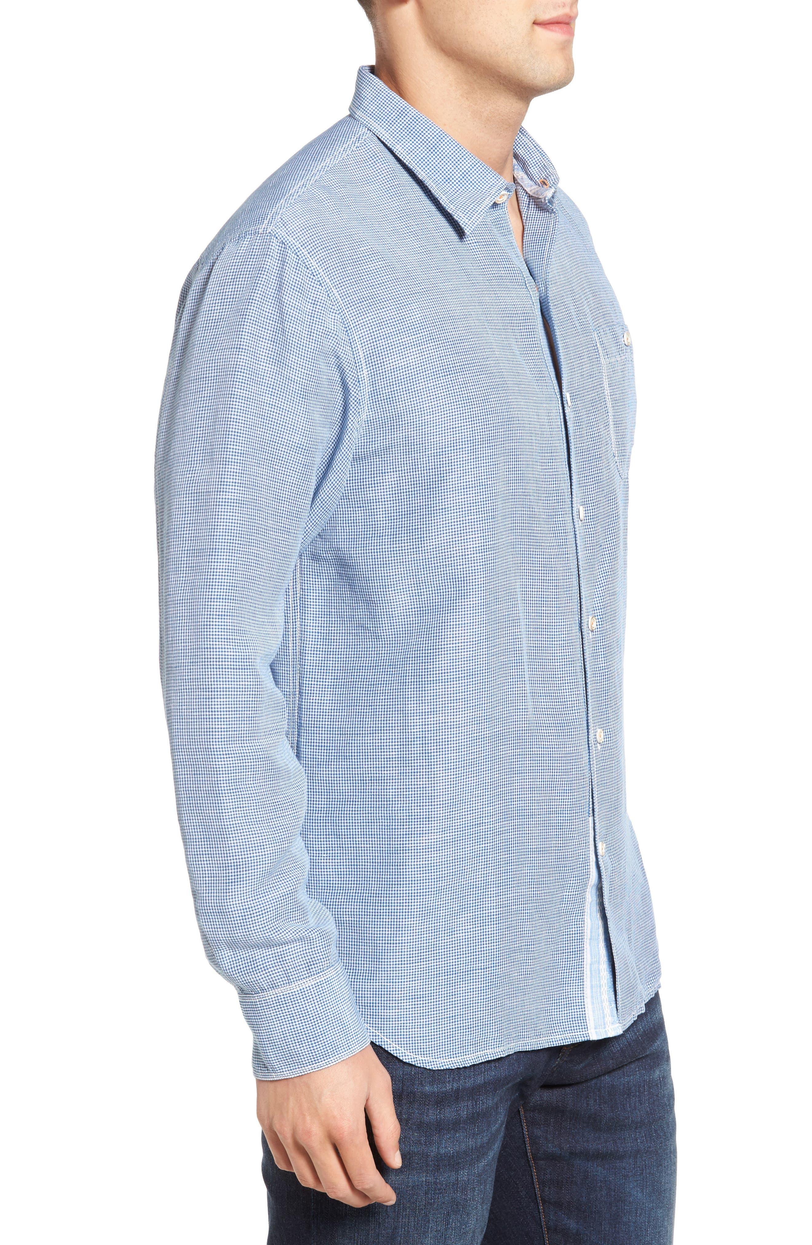 Sand Linen Island Modern Fit Sport Shirt,                             Alternate thumbnail 3, color,                             Bering Blue