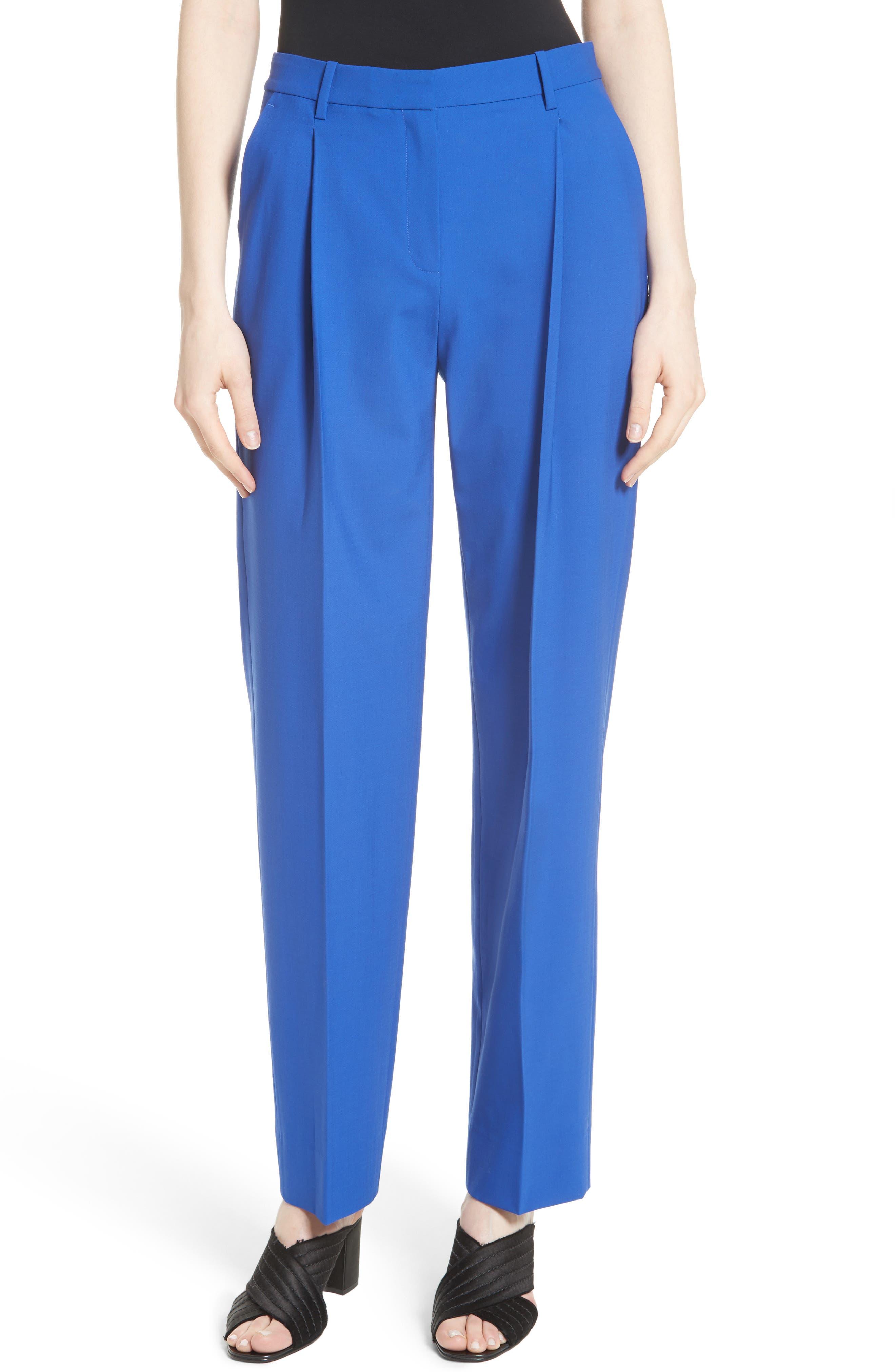 Pleat Front Pants,                         Main,                         color, Klein Blue