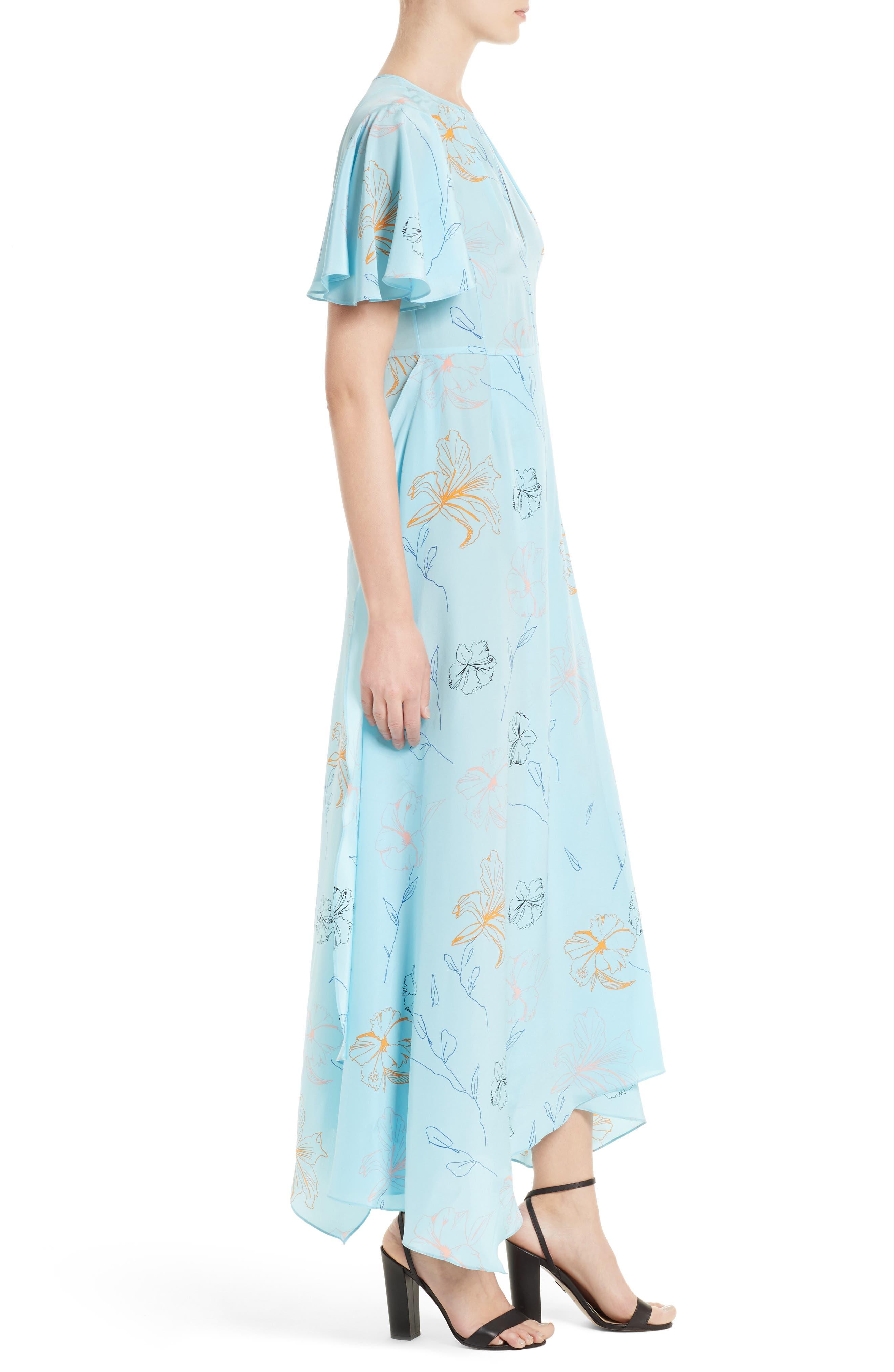 Flutter Sleeve Print Silk Maxi Dress,                             Alternate thumbnail 3, color,                             Fenelon Bright Ice
