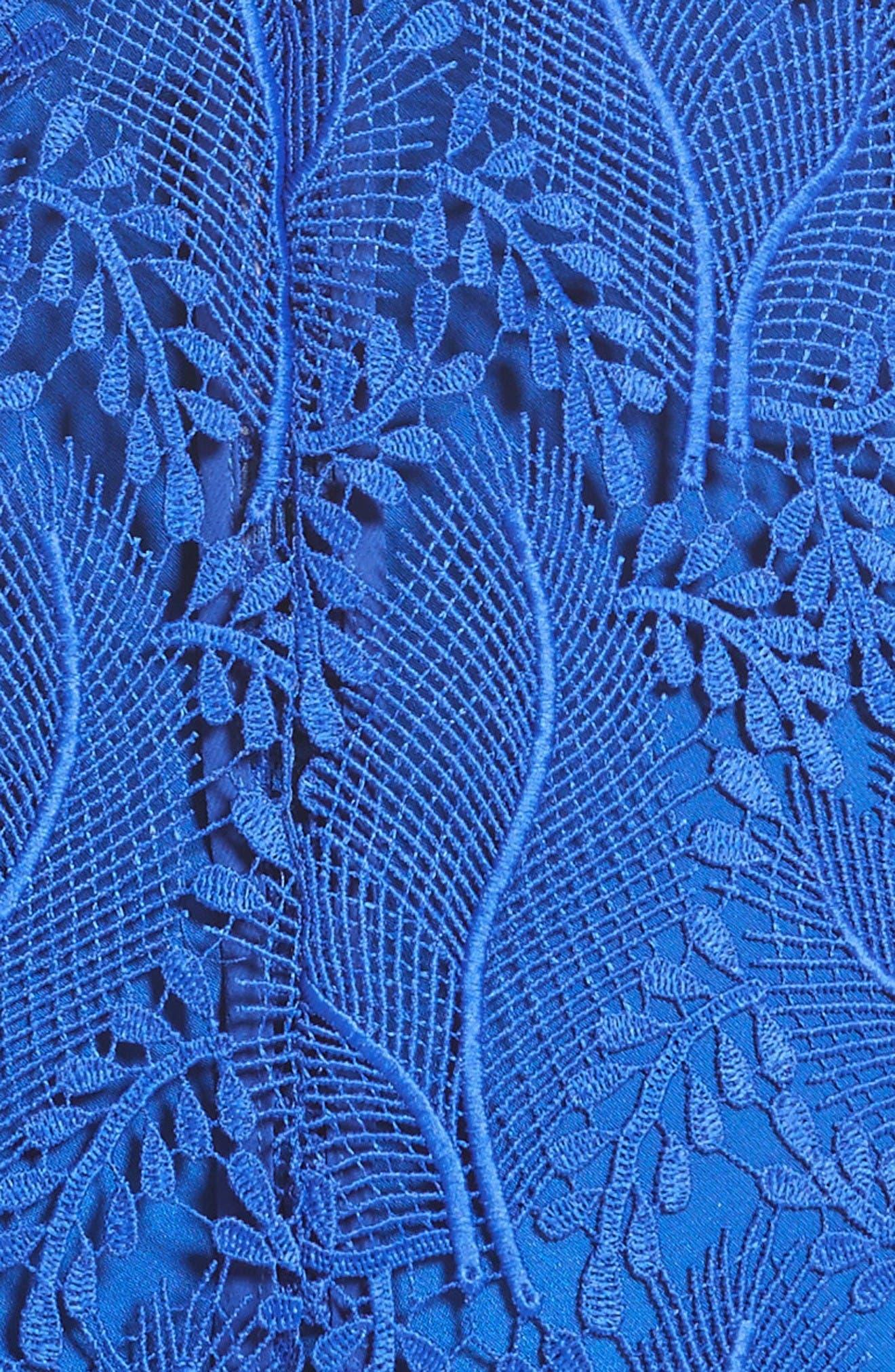 Lace Midi Sheath Dress,                             Alternate thumbnail 5, color,                             Klein Blue