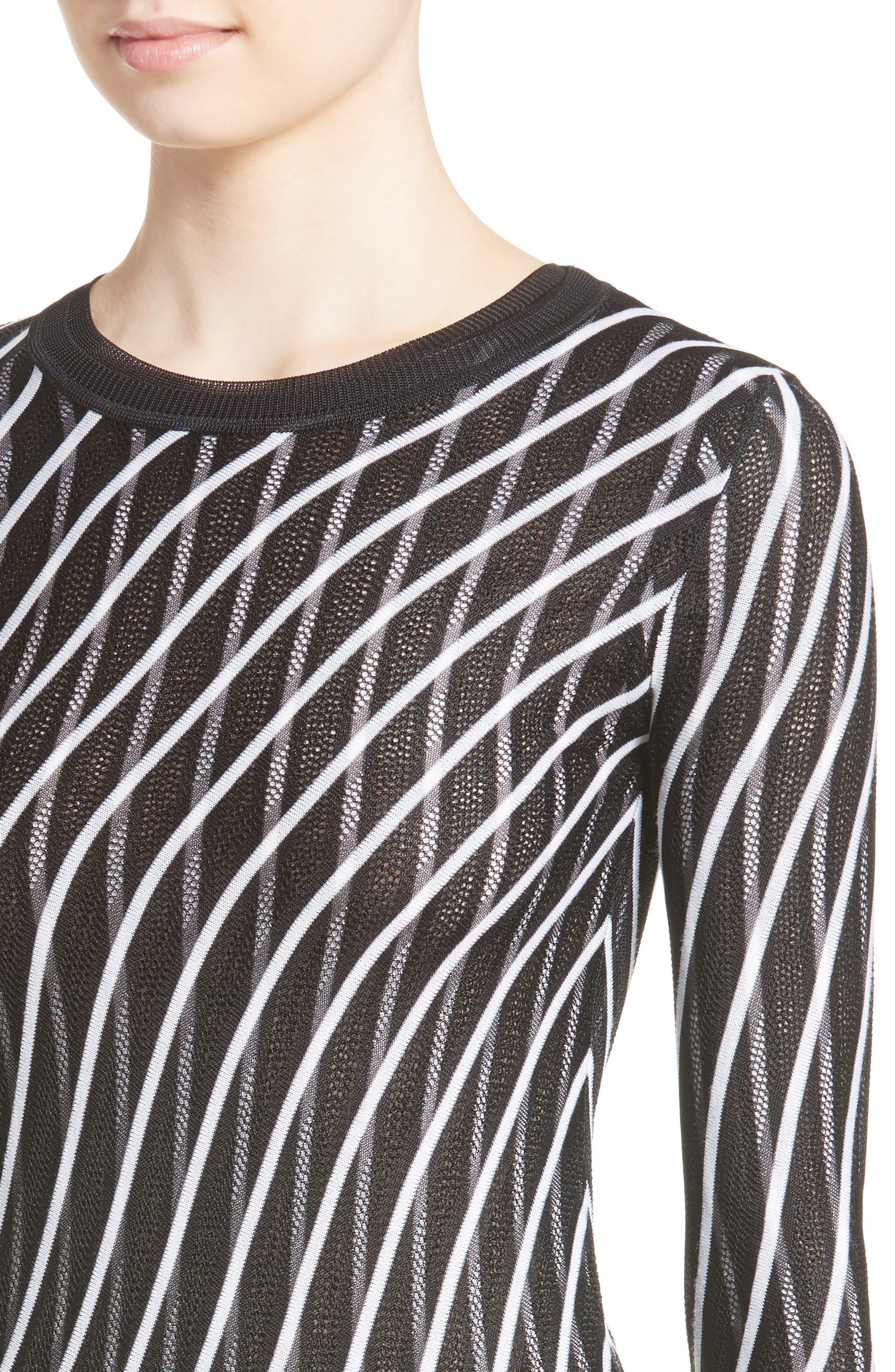 Double Layer Stripe Sweater Dress,                             Alternate thumbnail 4, color,                             Ivory/ Black