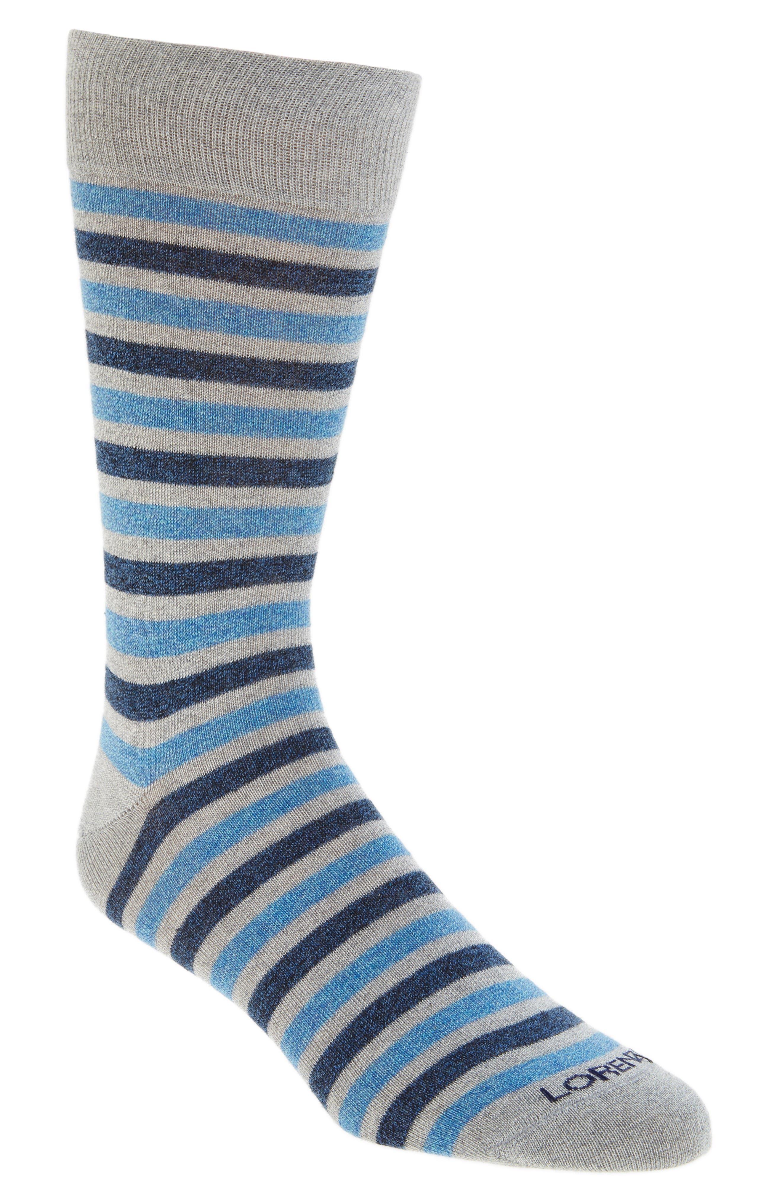 LORENZO UOMO Double Stripe Crew Socks