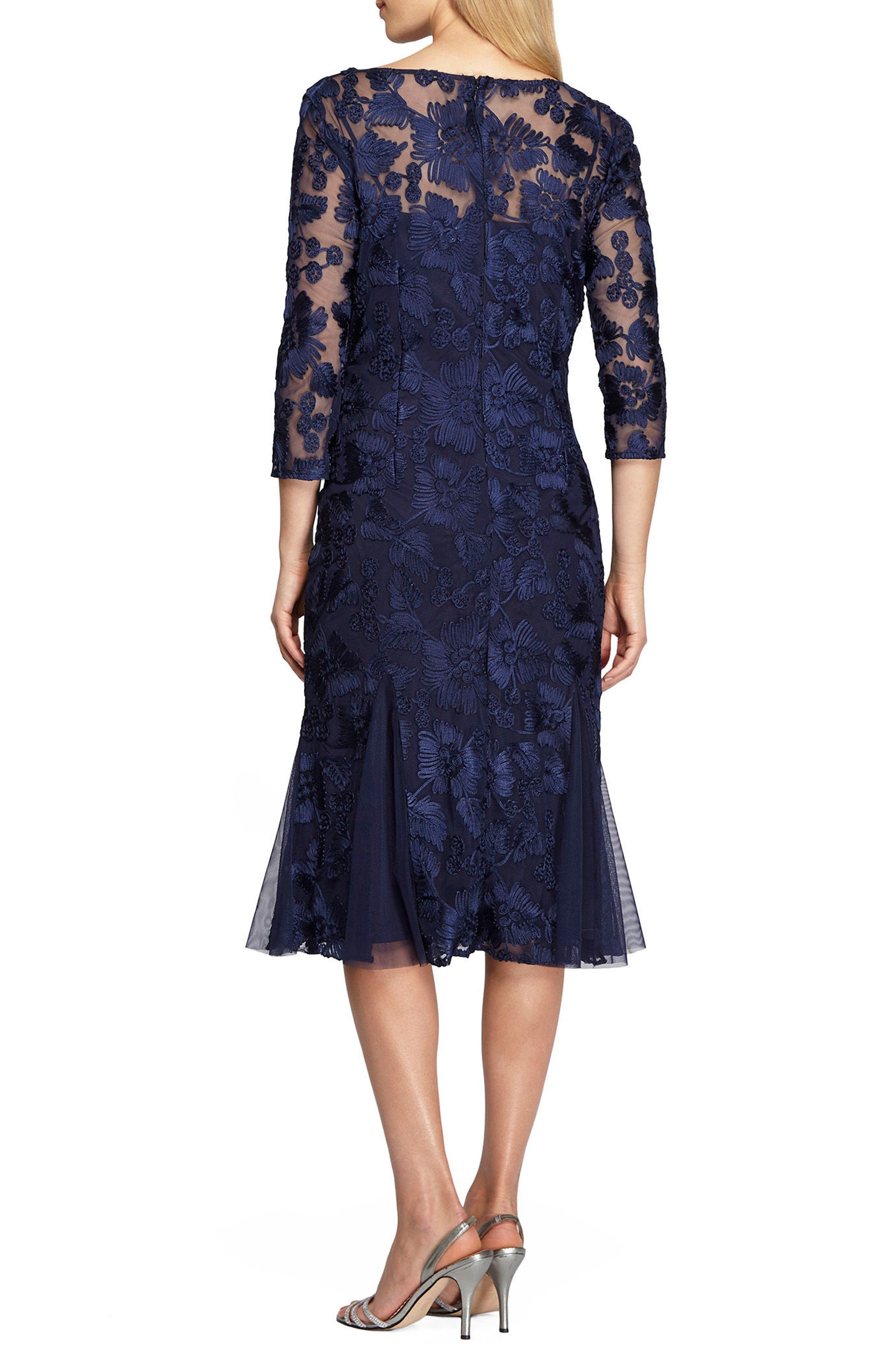 Lace Midi Dress,                             Alternate thumbnail 2, color,                             Navy