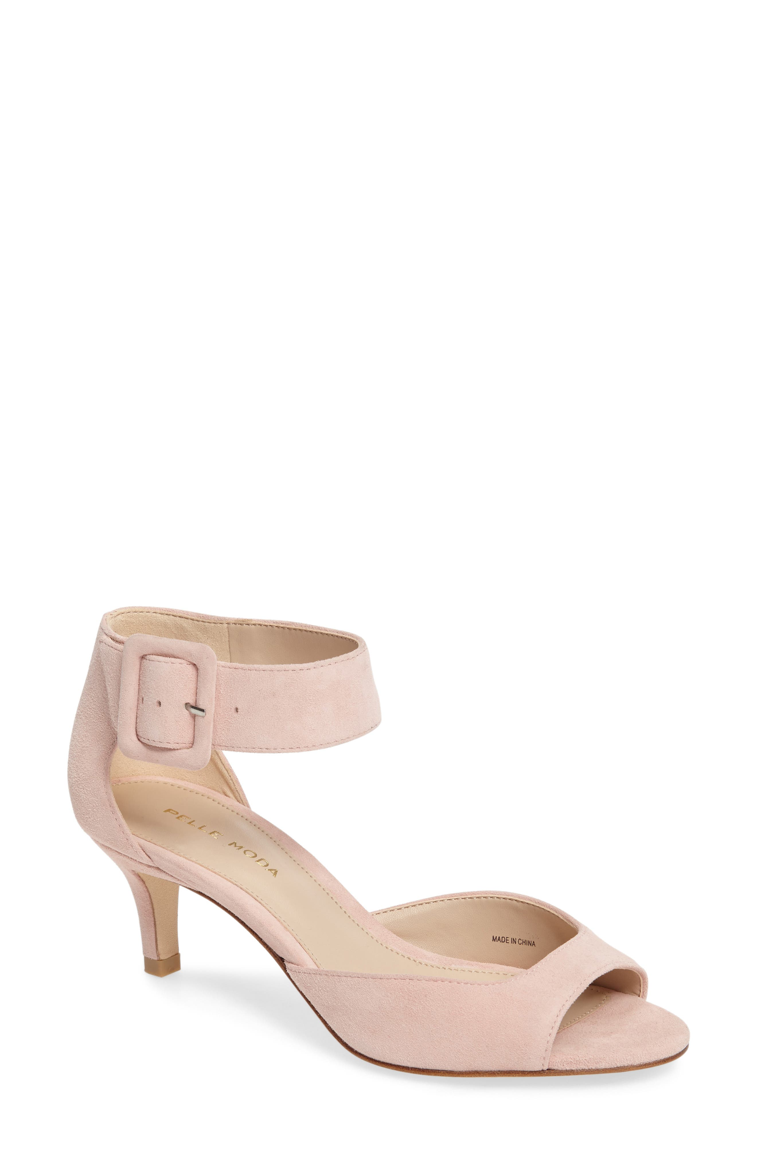 'Berlin' Ankle Strap Sandal,                             Main thumbnail 1, color,                             Pale Pink Leather