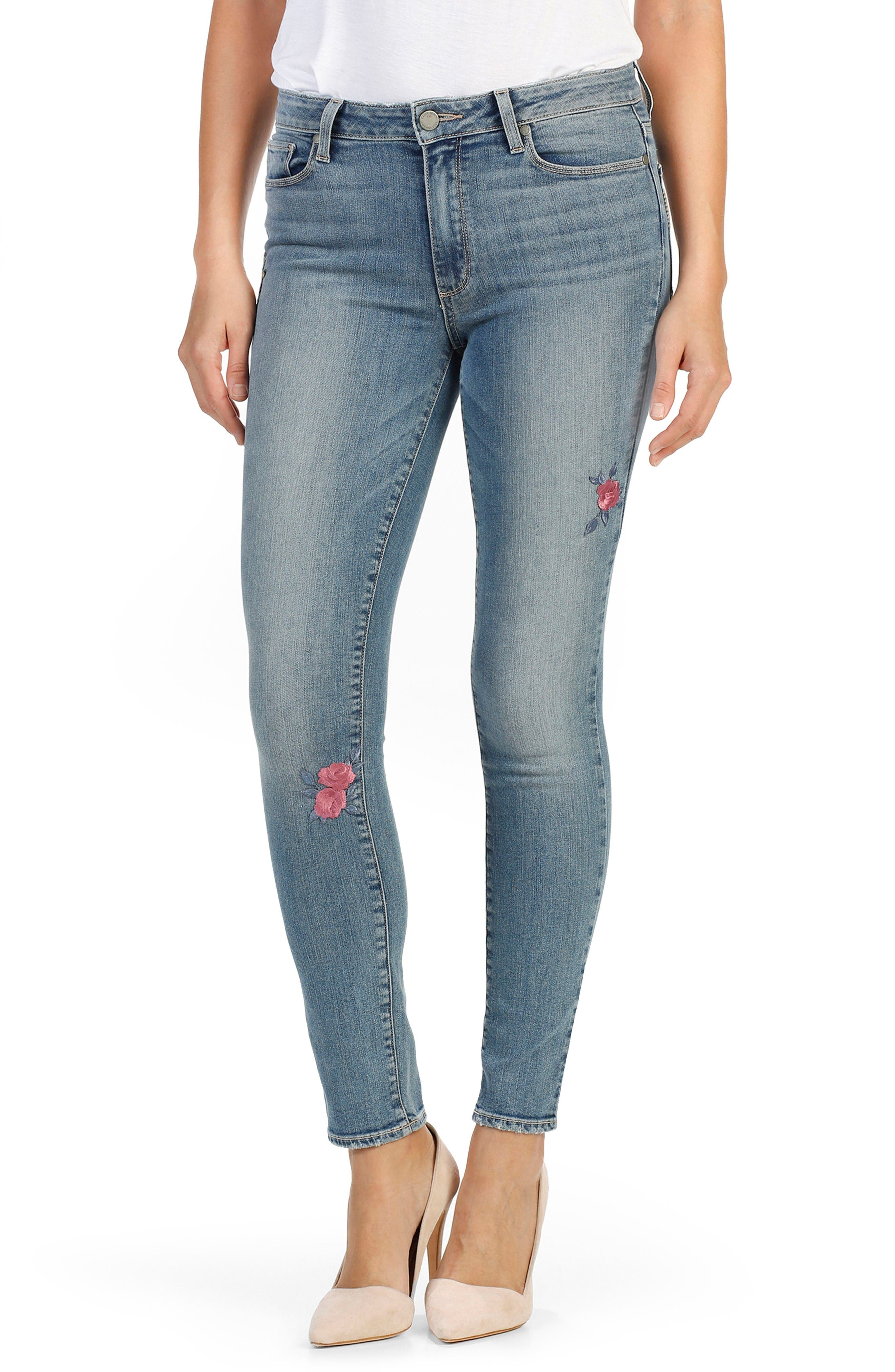 PAIGE Hoxton High Waist Peg Embroidered Ankle Jeans (Rosemont Patch)
