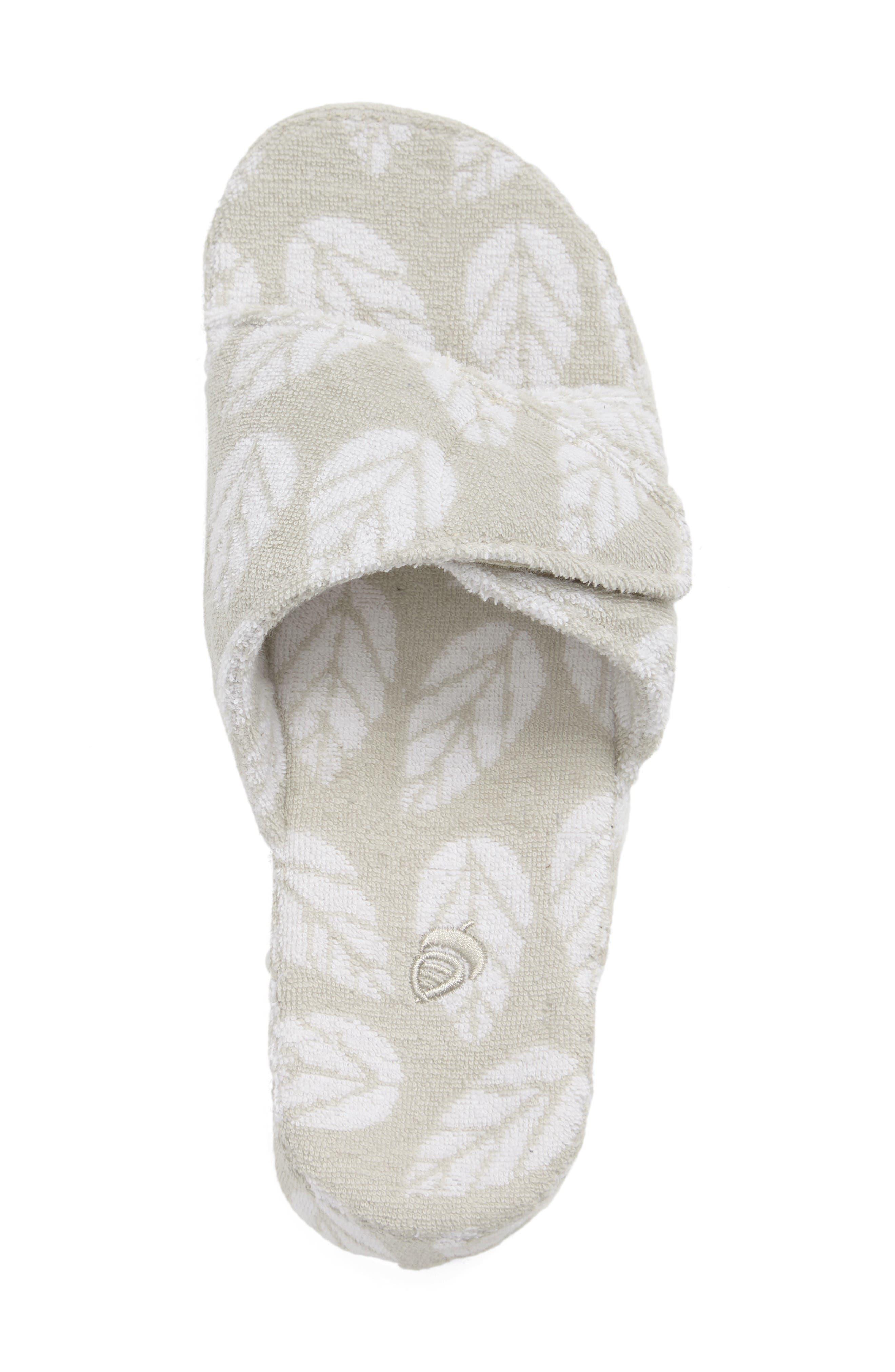 Summerweight Slide Spa Slipper,                             Alternate thumbnail 3, color,                             Grey Leaf Fabric