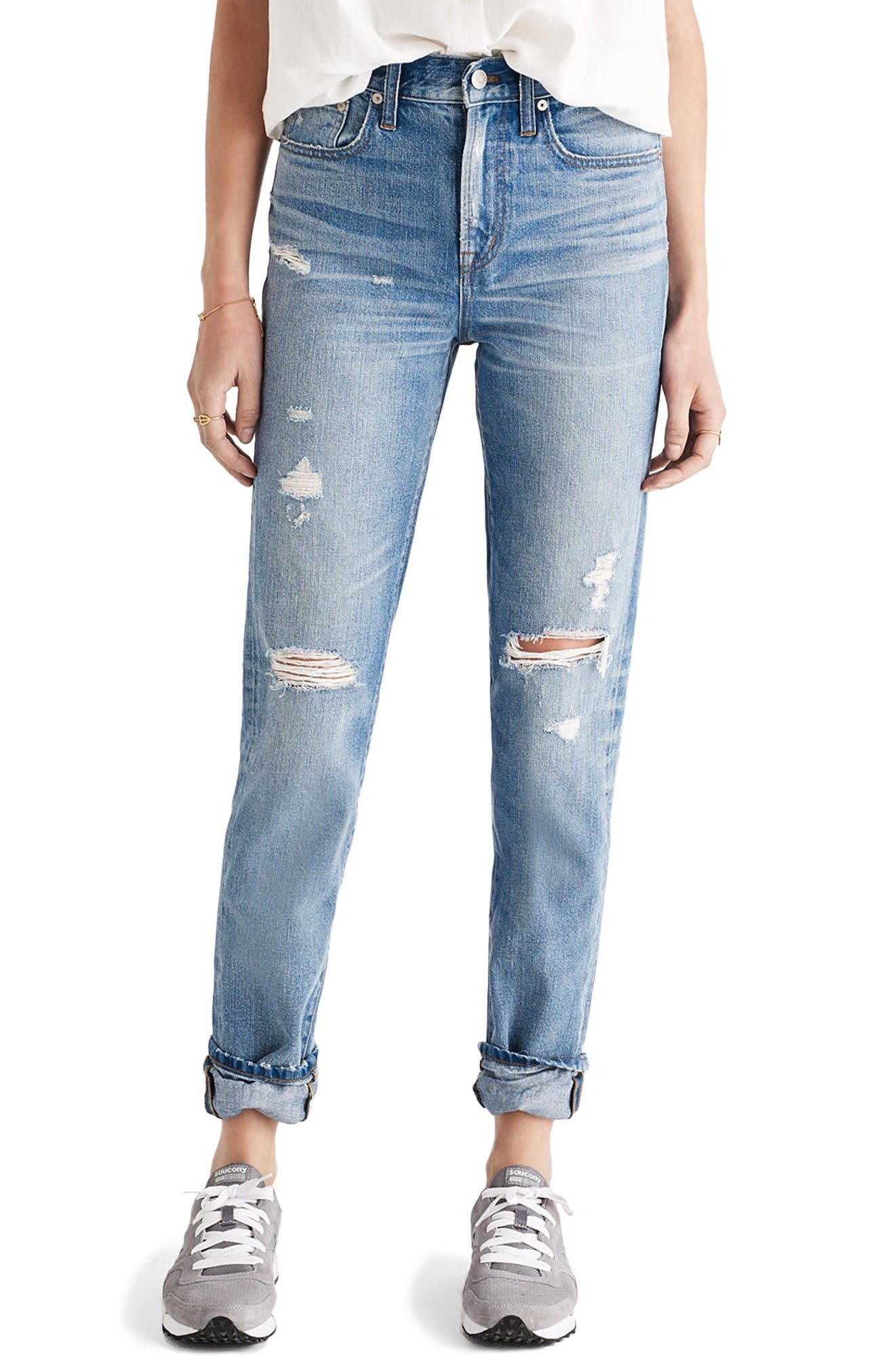 Main Image - Madewell Perfect Vintage Ripped High Waist Boyfriend Jeans (Chet)