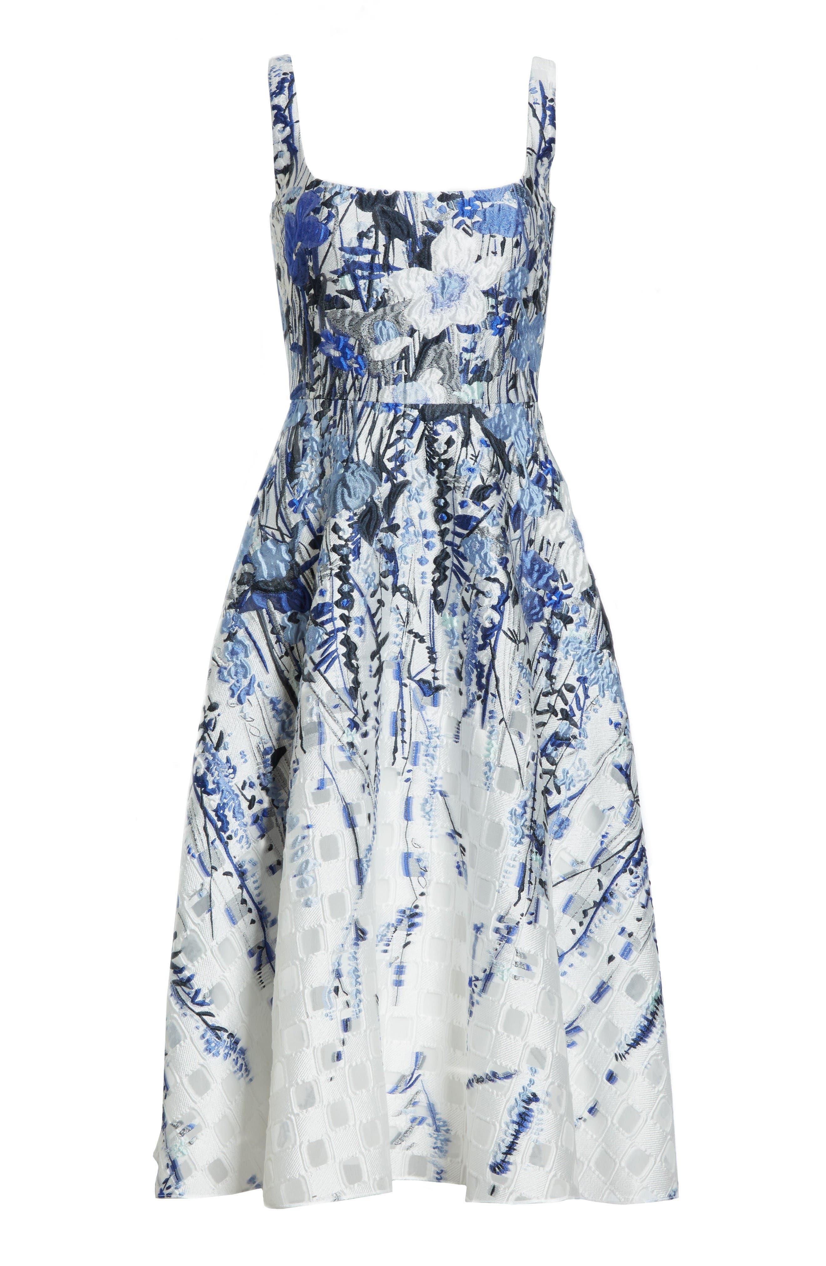 Alternate Image 4  - Lela Rose Wildflower Fil Coupé Dress