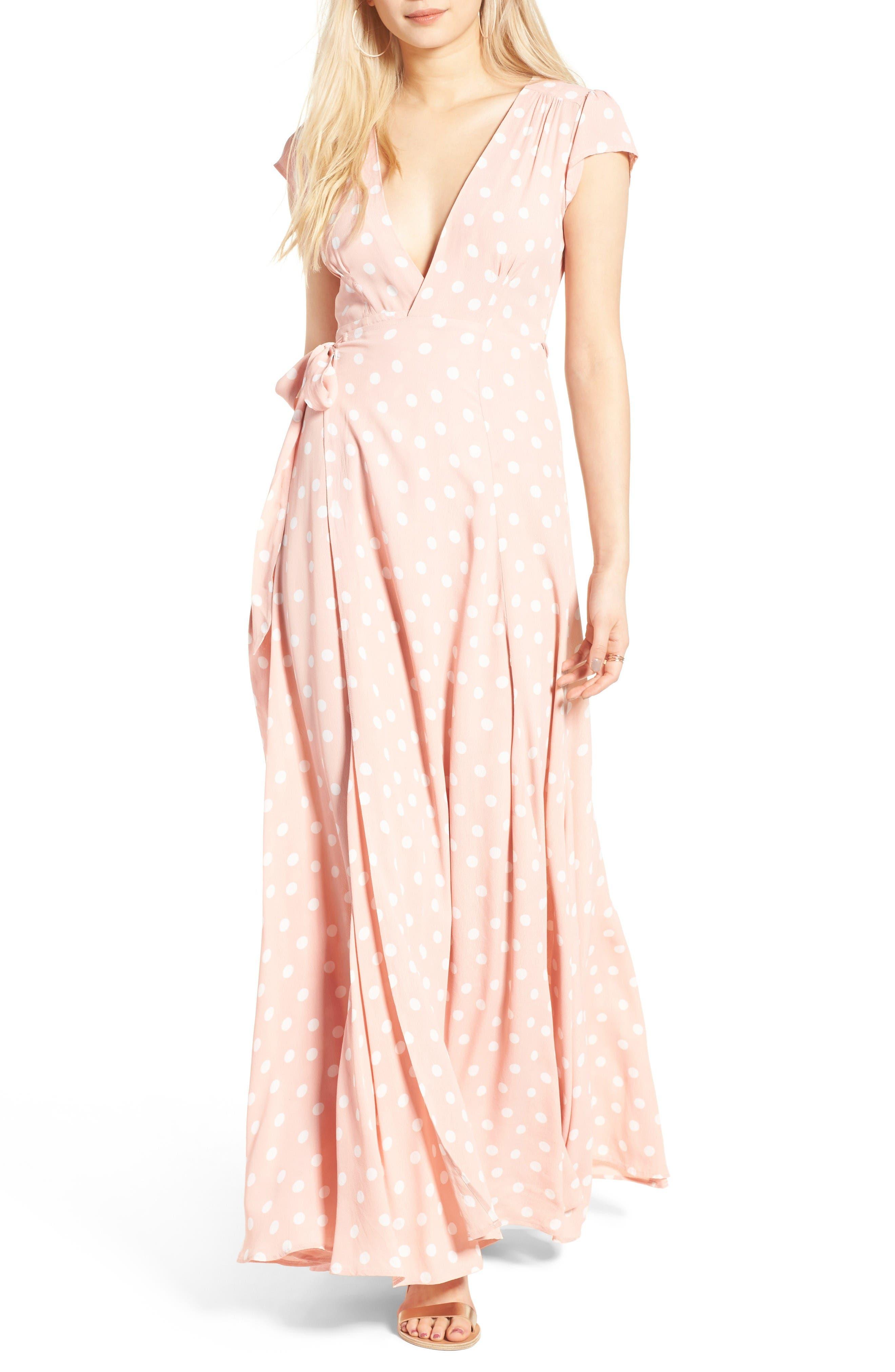 Sid Wrap Maxi Dress,                         Main,                         color, Blush