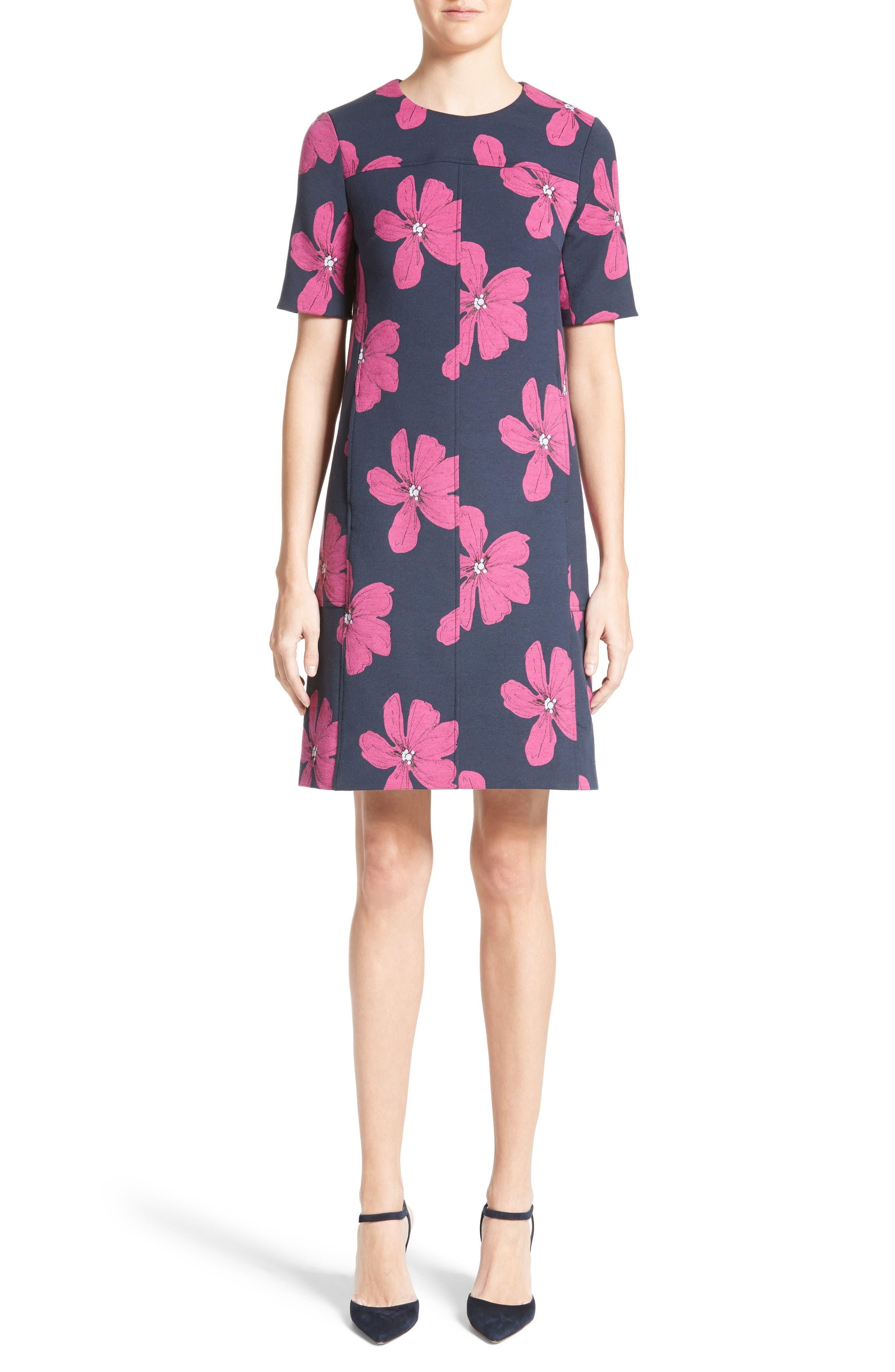 Floral Print Stretch Jacquard Tunic Dress,                             Main thumbnail 1, color,                             Navy/ Fuchsia