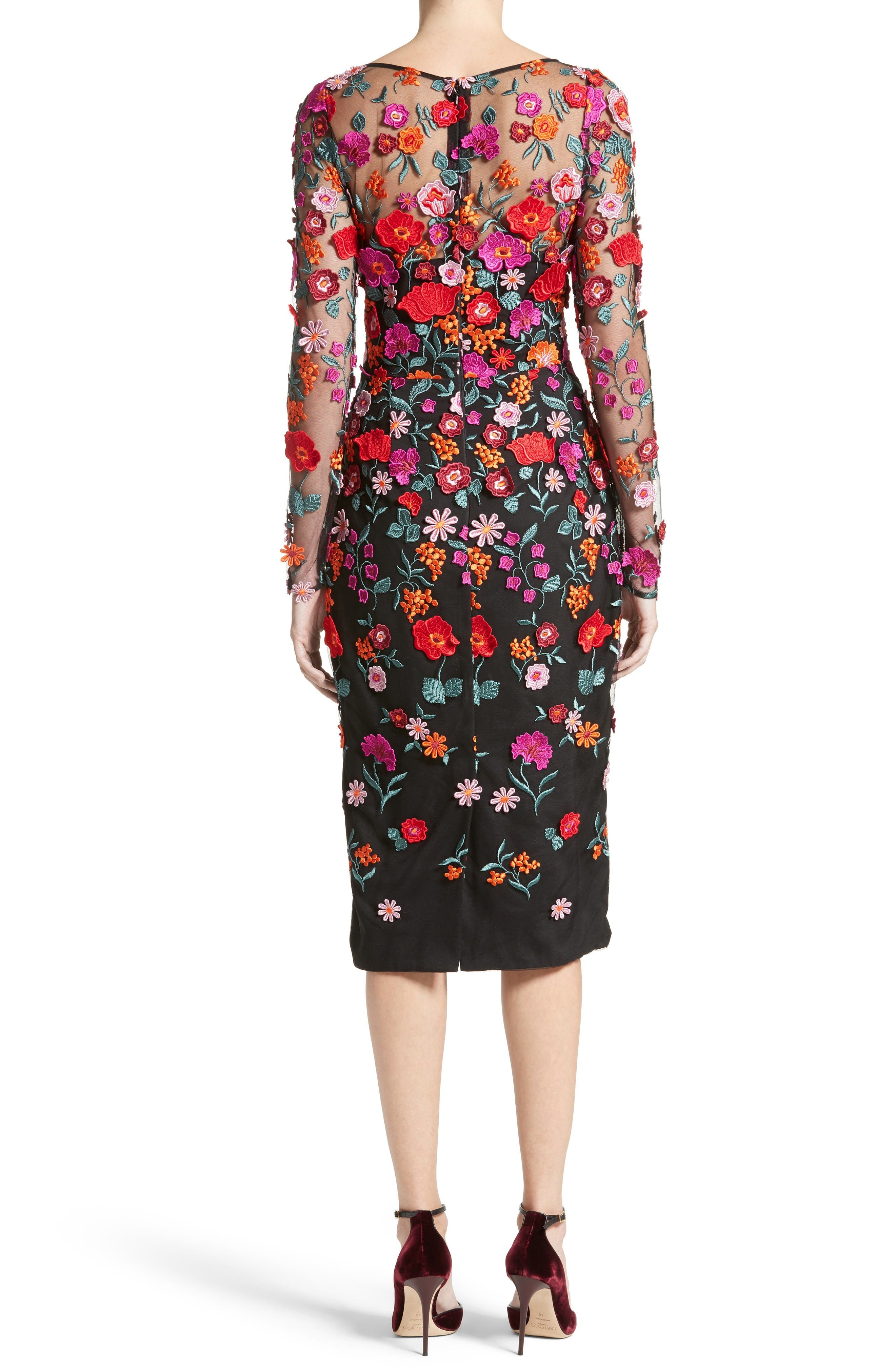 Floral Embroidered Pencil Dress,                             Alternate thumbnail 2, color,                             Multi