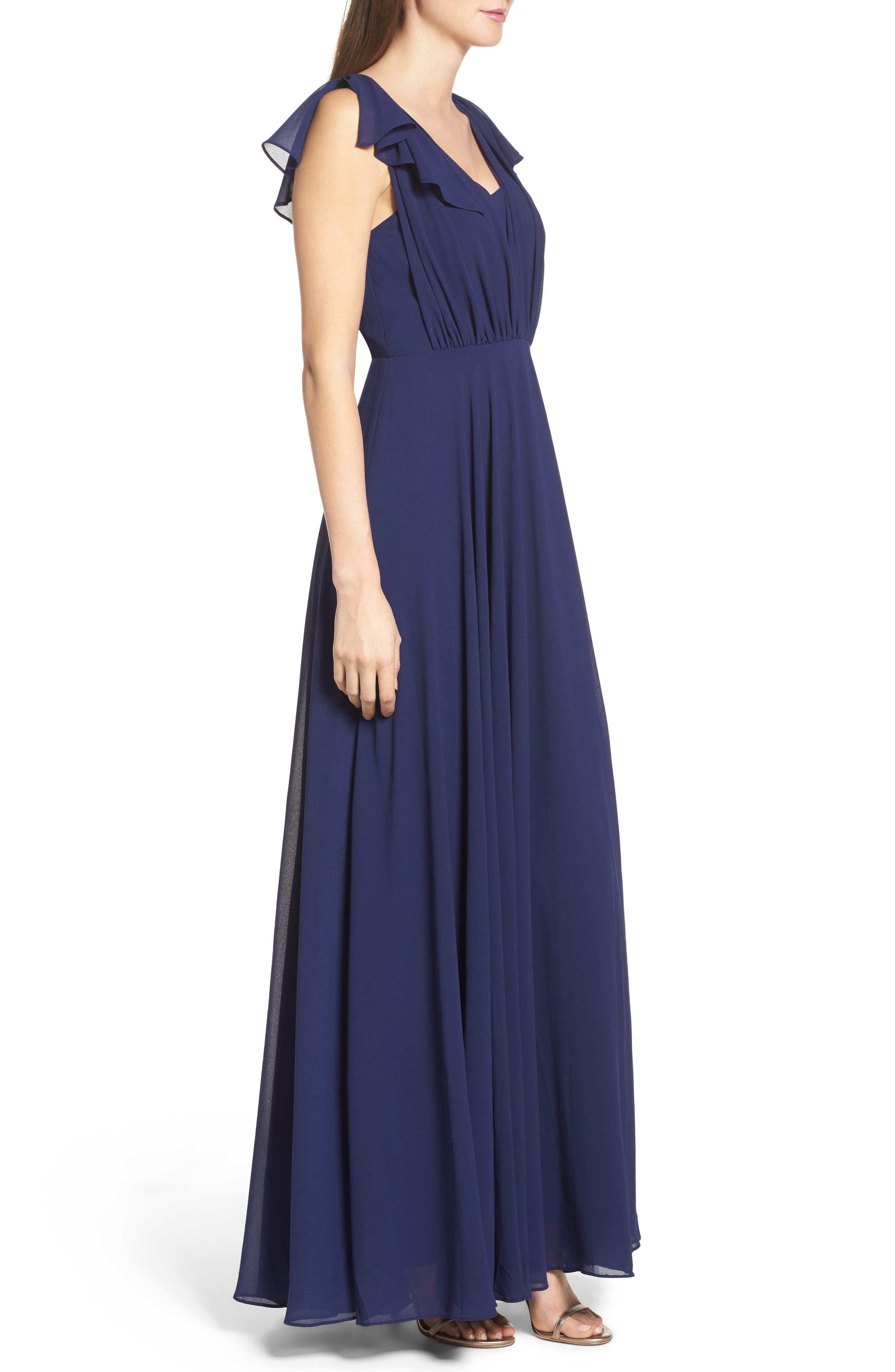 Flutter Sleeve Chiffon Gown,                             Alternate thumbnail 3, color,                             Navy