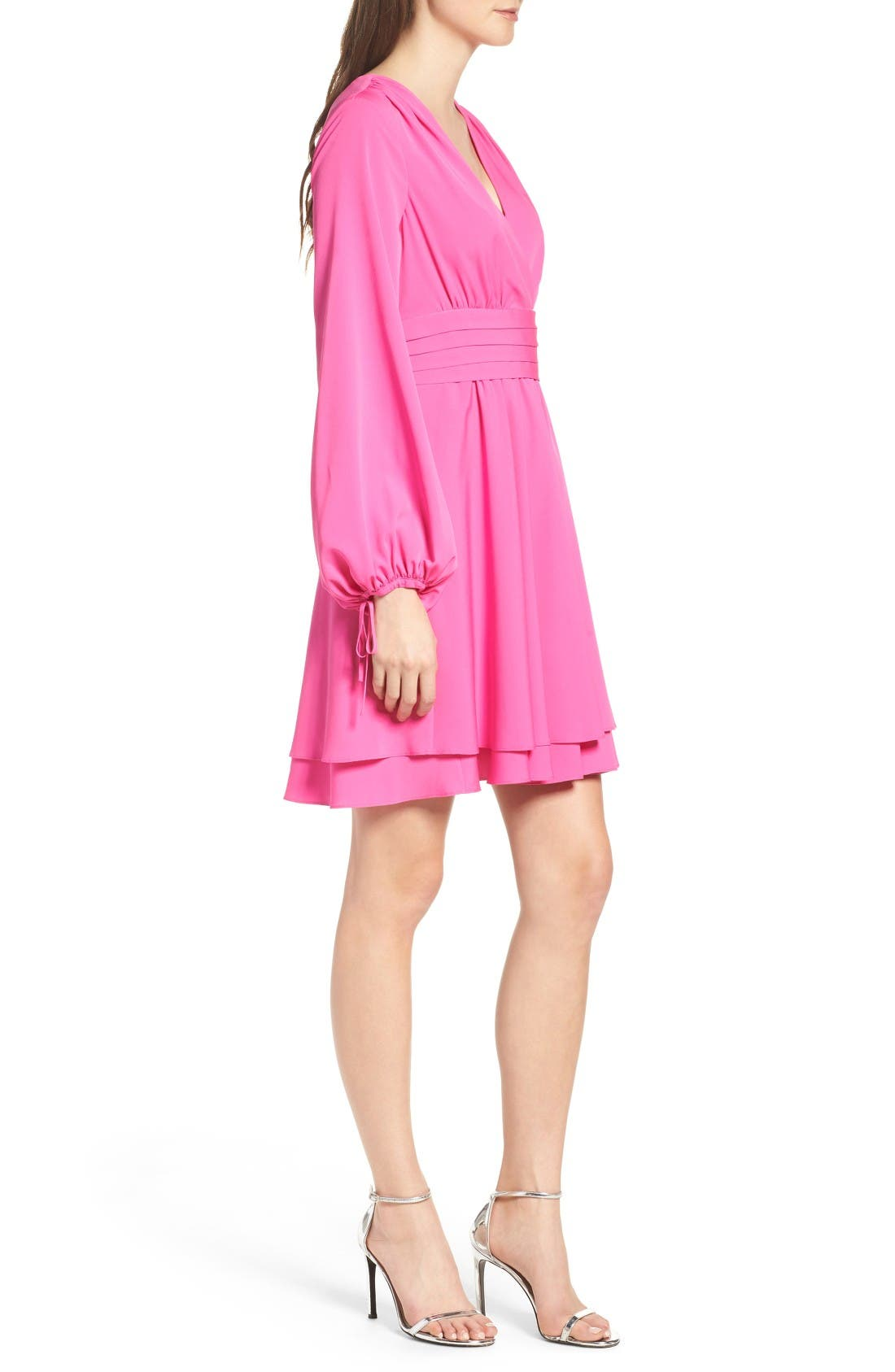 Tie Sleeve Fit & Flare Dress,                             Alternate thumbnail 3, color,                             Fuchsia