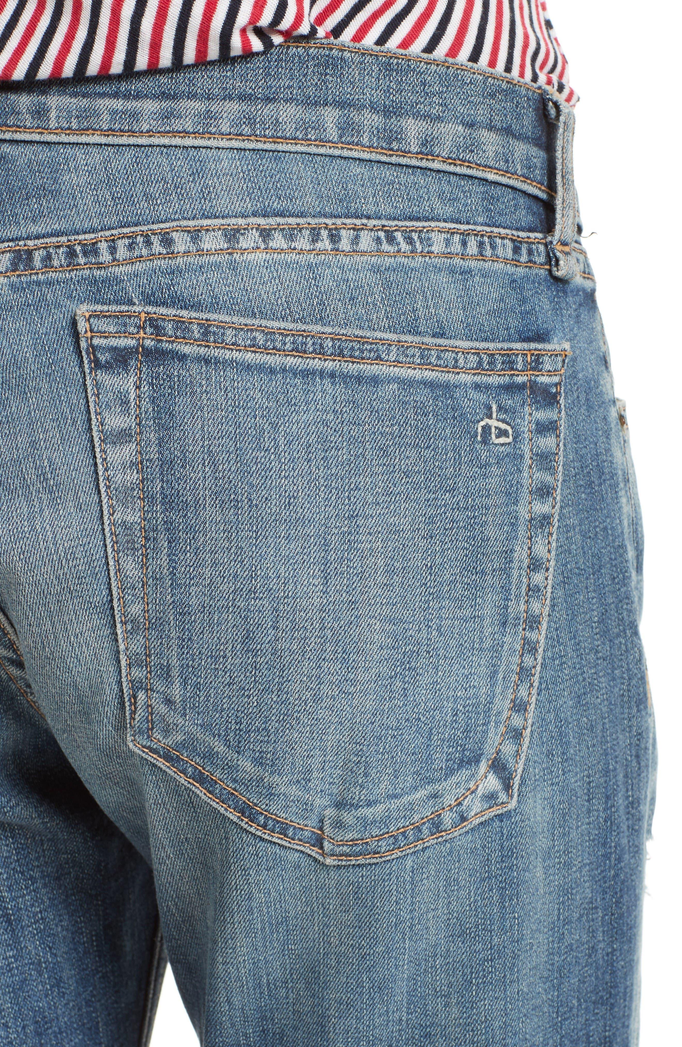 Alternate Image 4  - rag & bone/JEAN The Dre Capri Slim Boyfriend Jeans (Delamo)