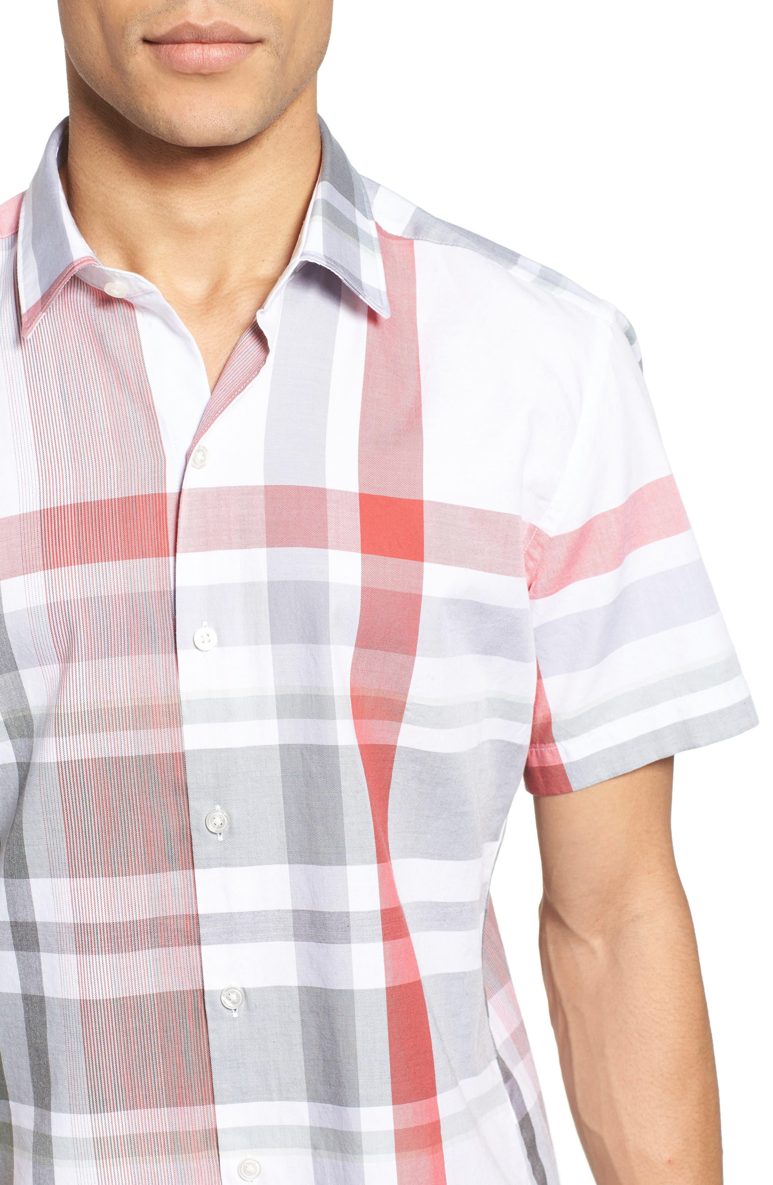 Robb Sharp Fit Plaid Sport Shirt,                             Alternate thumbnail 4, color,                             Red