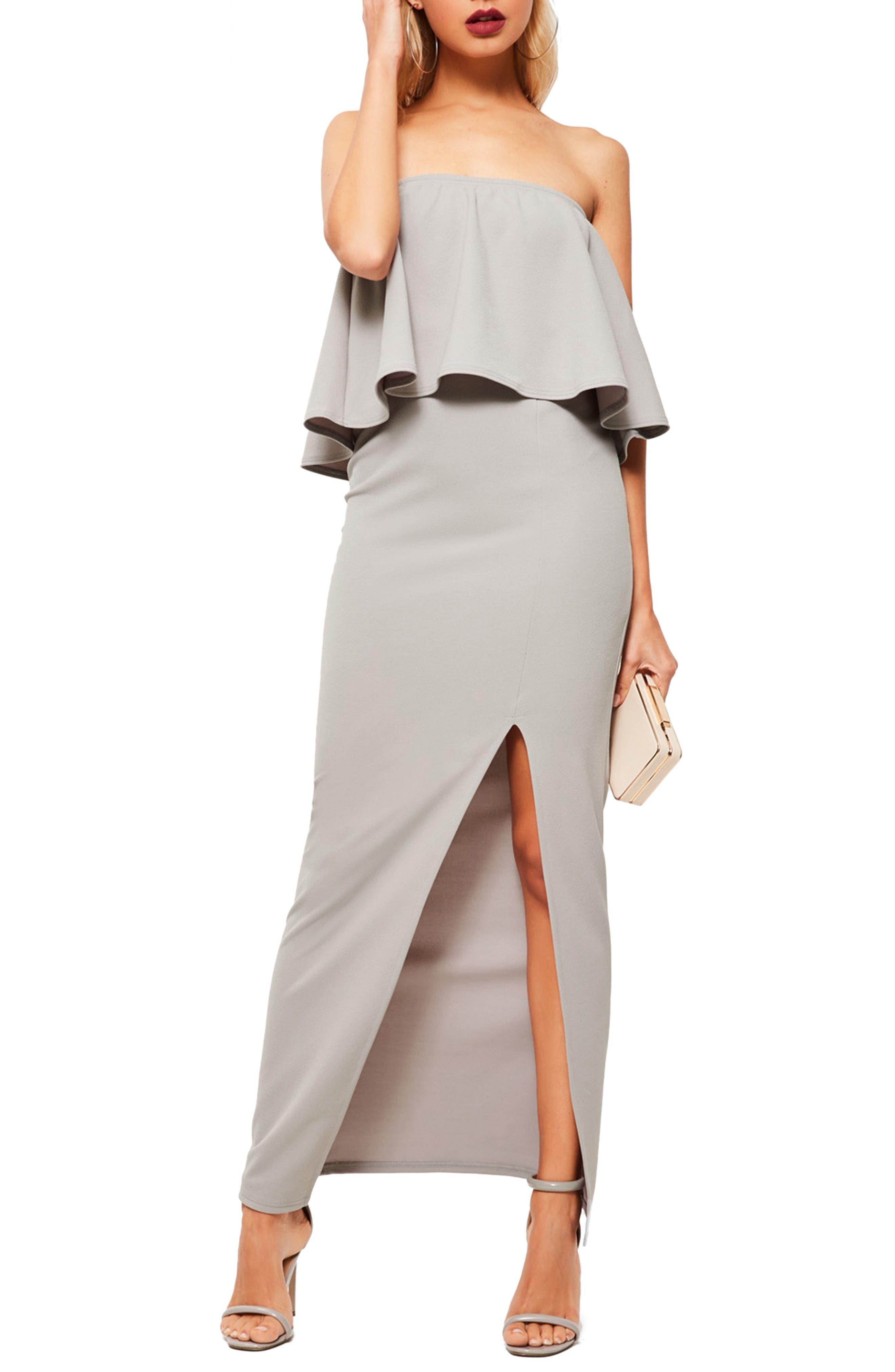 Strapless Popover Maxi Dress,                             Alternate thumbnail 3, color,                             Grey