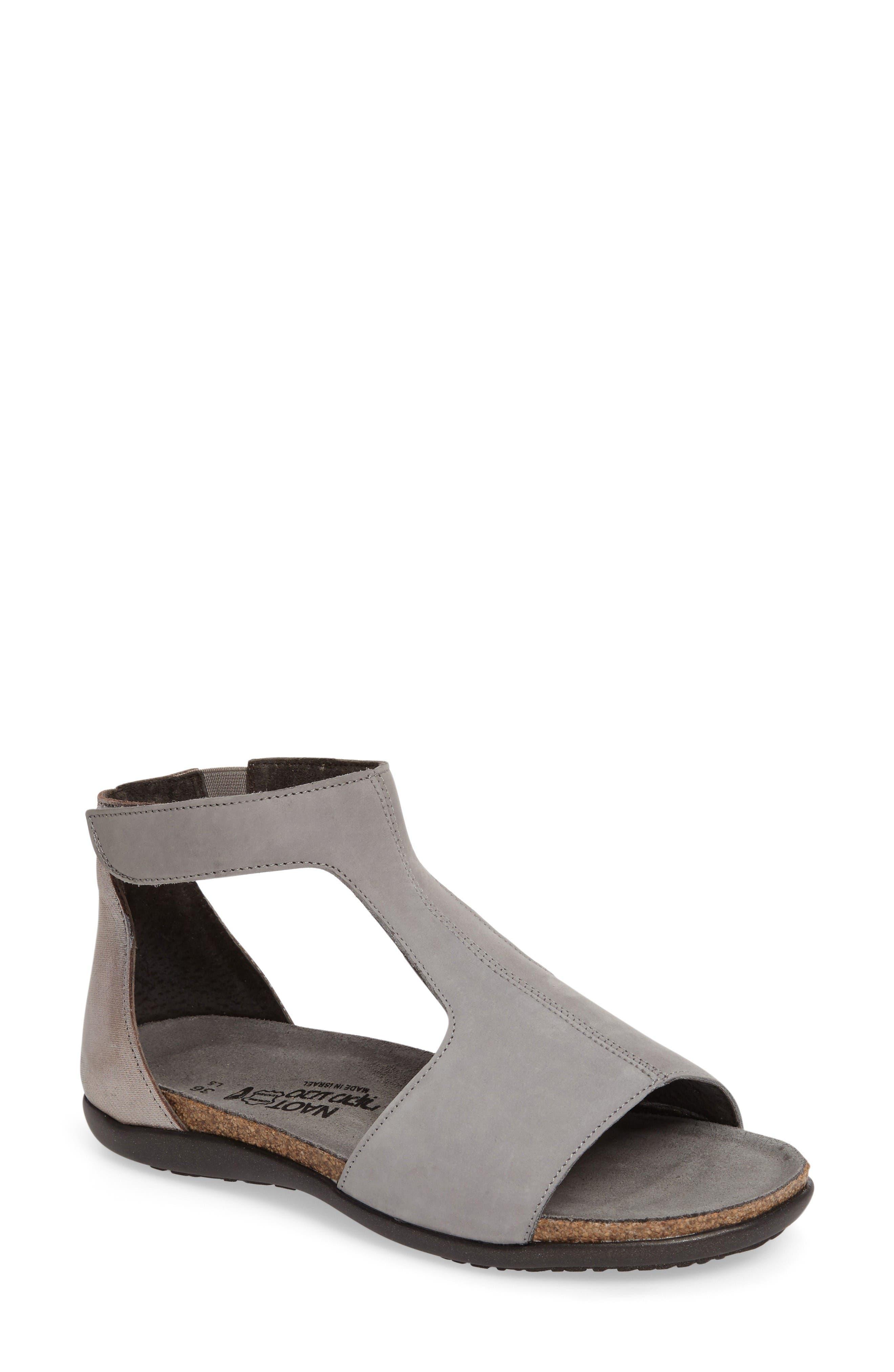 Nala Sandal,                             Main thumbnail 1, color,                             Grey/ Silver Nubuck Leather