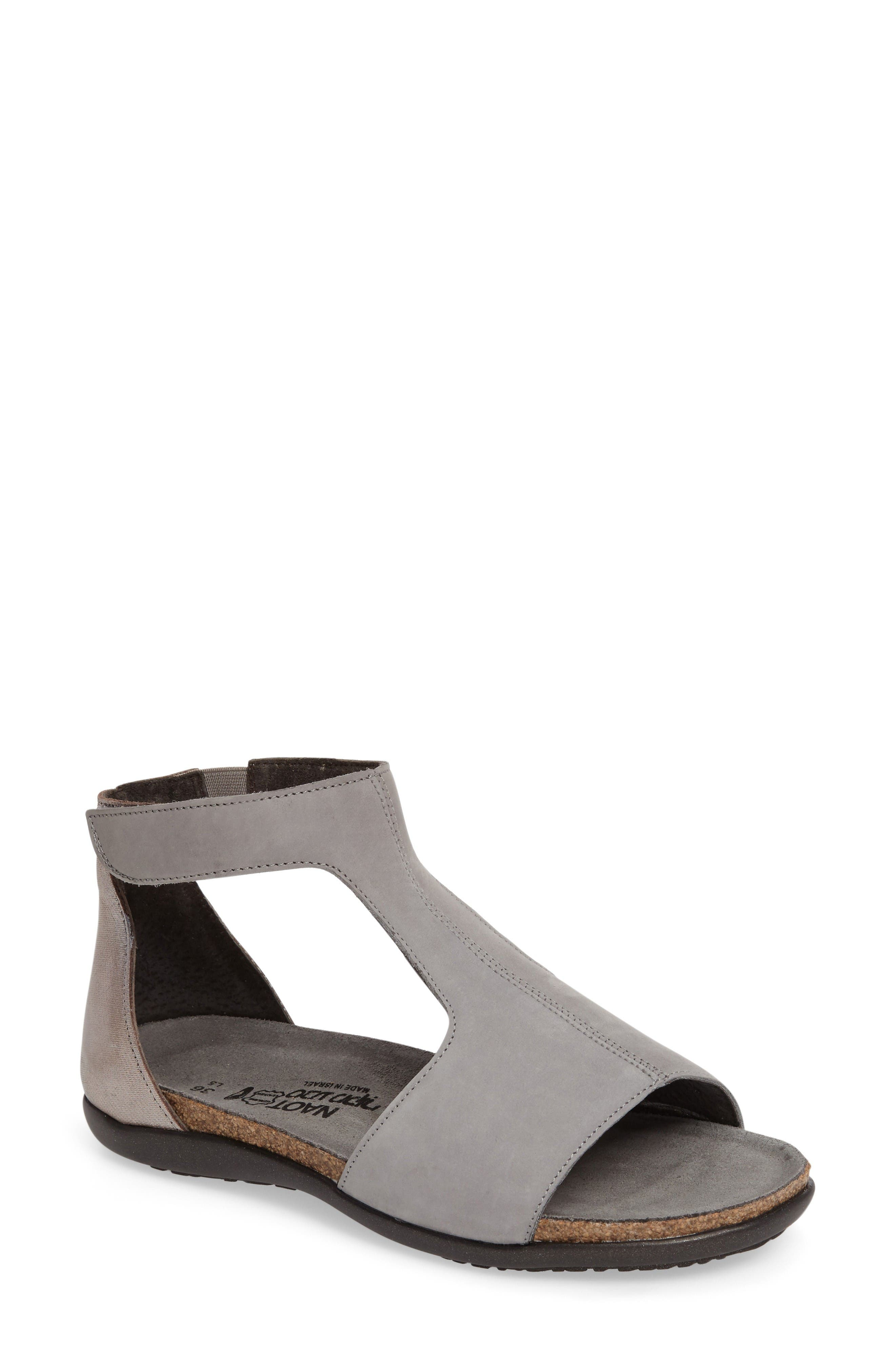 Nala Sandal,                         Main,                         color, Grey/ Silver Nubuck Leather