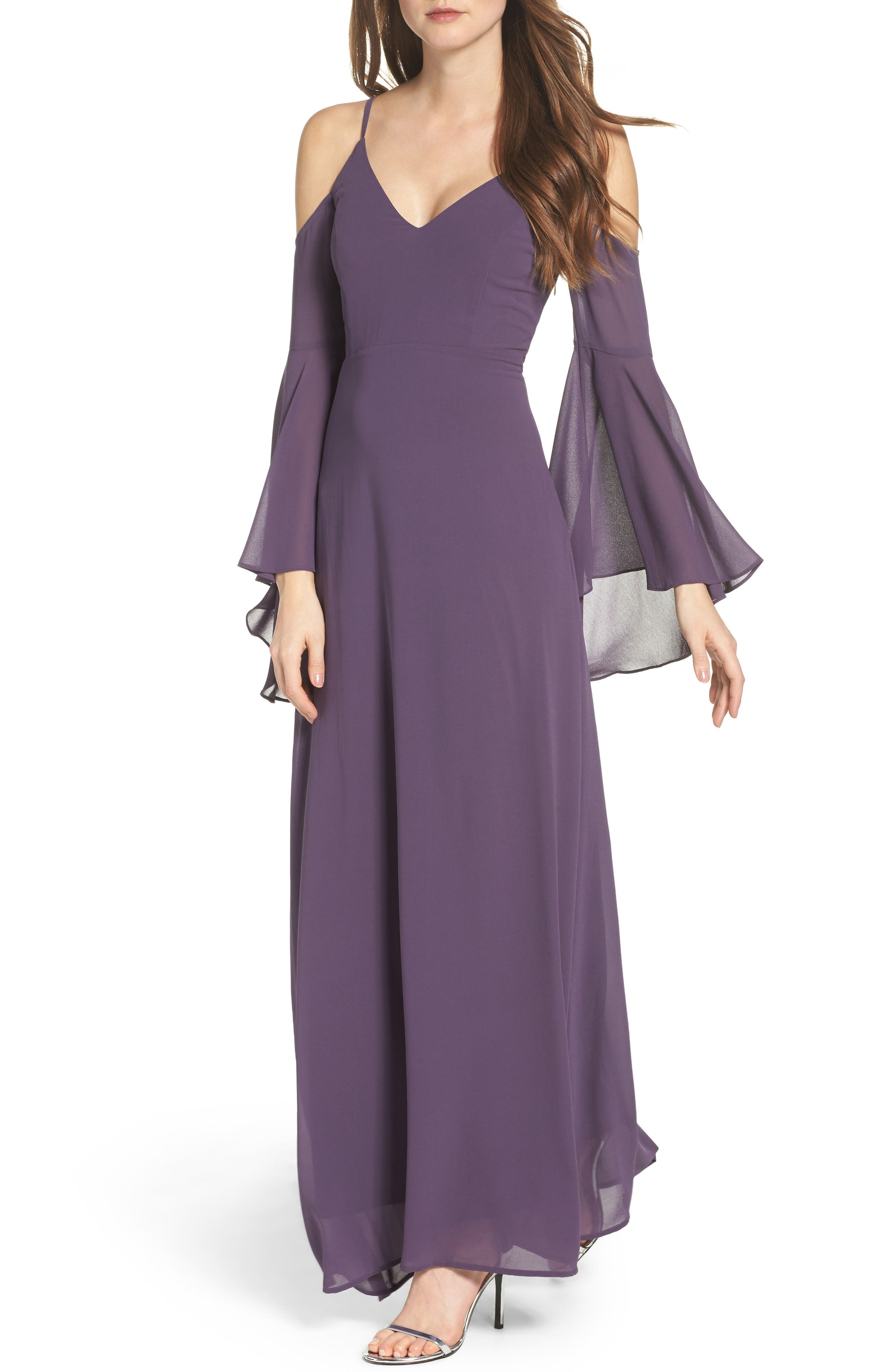 Lulus Cold Shoulder Chiffon Maxi Dress