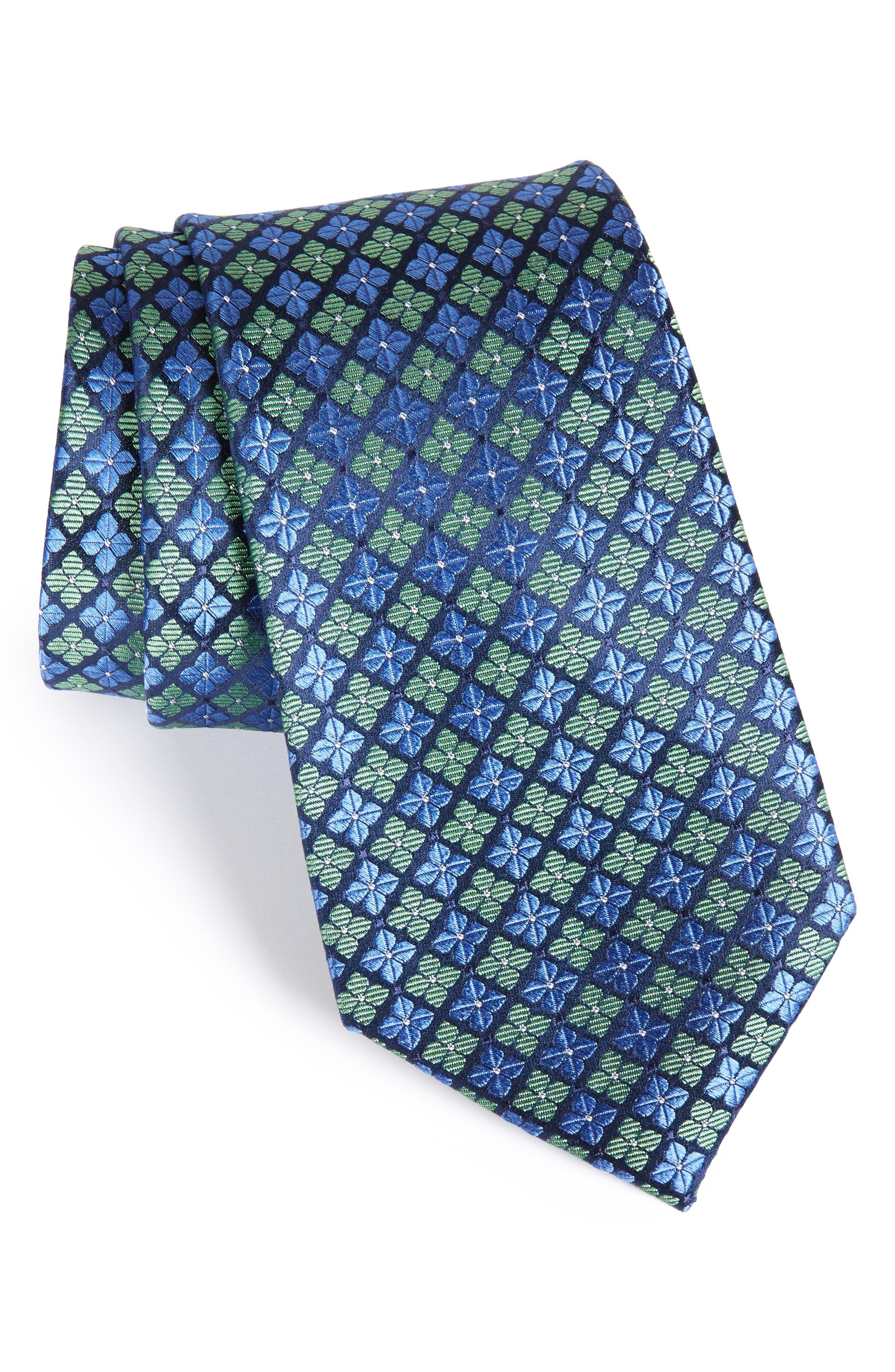 Shamrock Silk Tie,                         Main,                         color, Willow