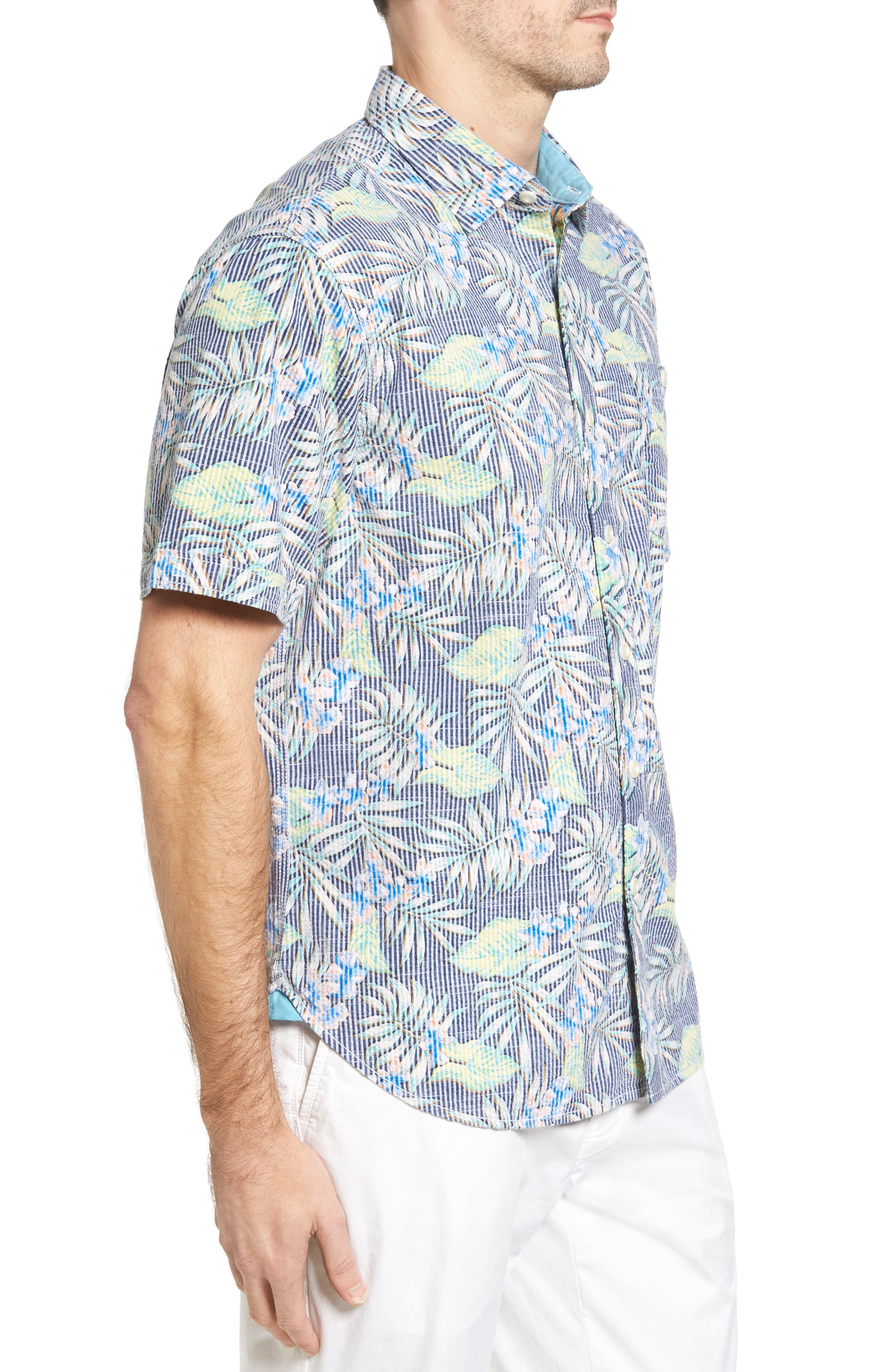 Between Two Fronds Standard Fit Print Sport Shirt,                             Alternate thumbnail 3, color,                             Bering Blue