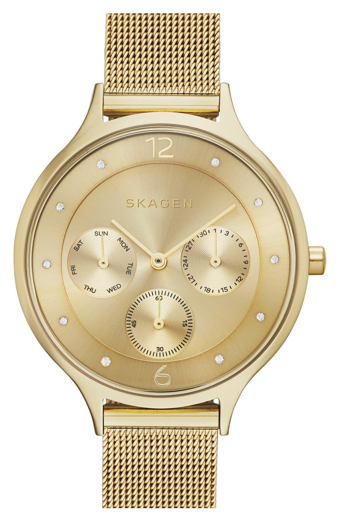Main Image - Skagen 'Anita' Crystal Index Chronograph Mesh Strap Watch, 36mm