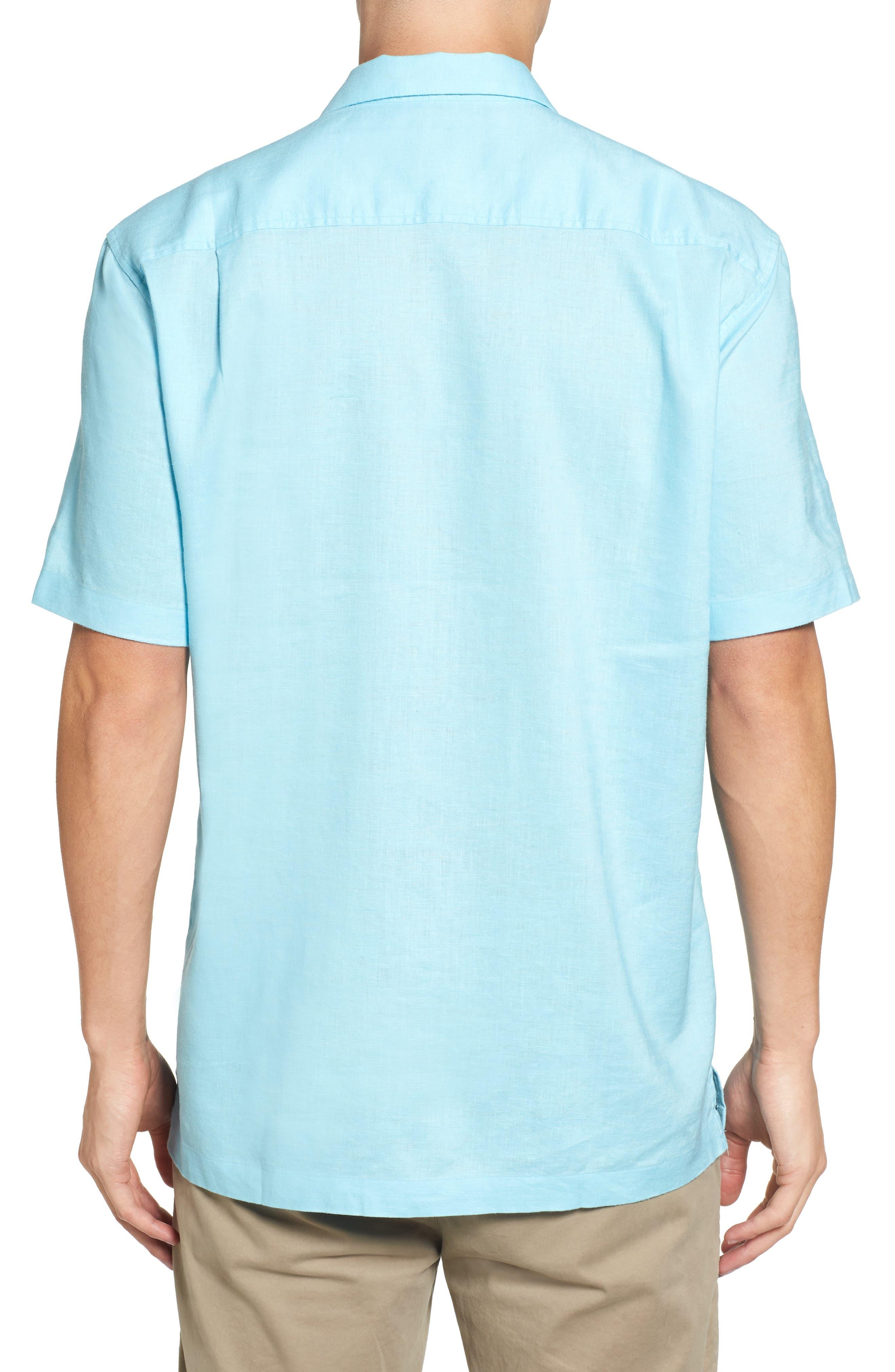 Monaco Tides Standard Fit Linen Blend Camp Shirt,                             Alternate thumbnail 2, color,                             Graceful Sea
