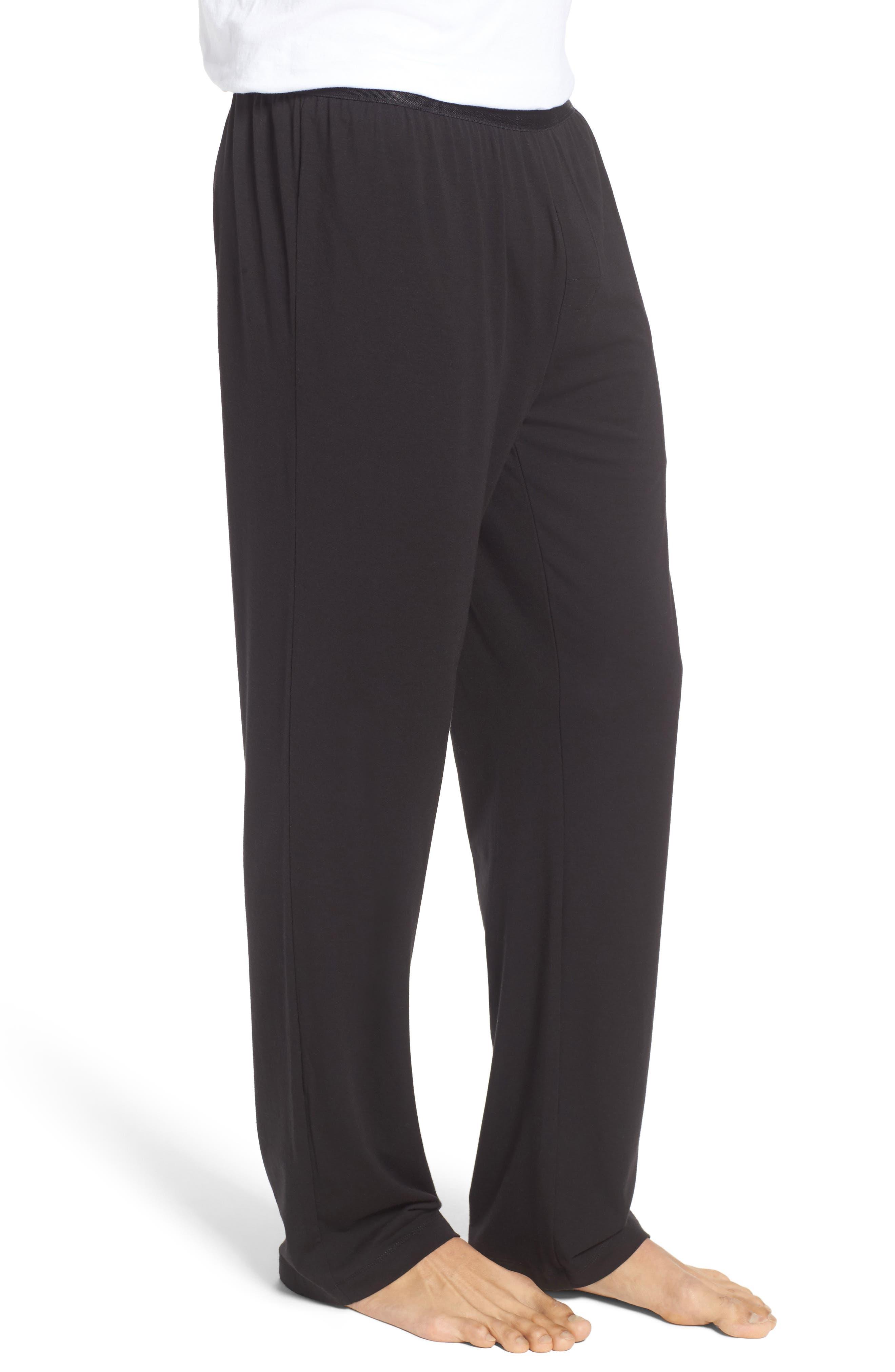 Micromodal Blend Lounge Pants,                             Alternate thumbnail 3, color,                             Black