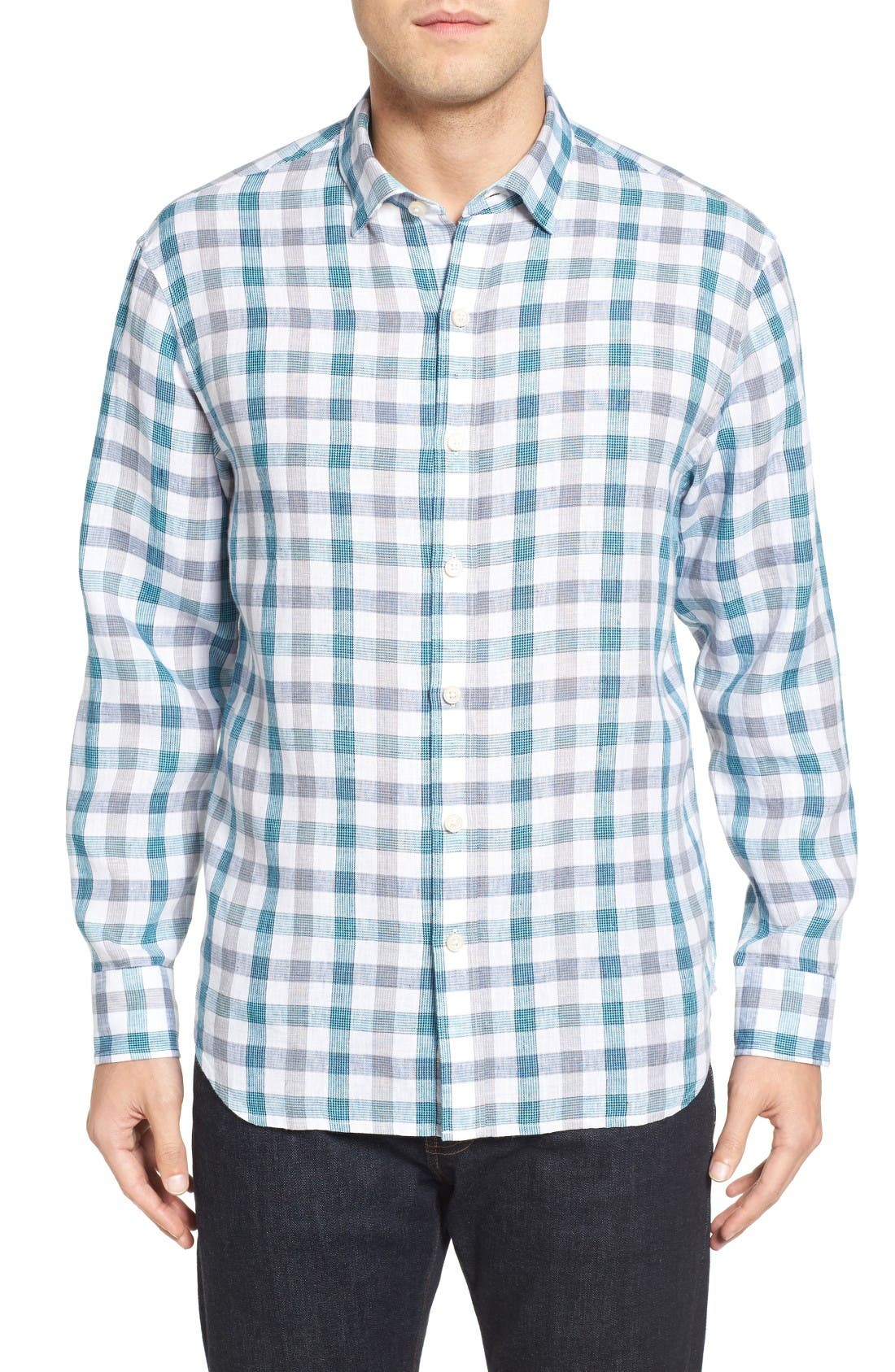 Thira Check Linen Sport Shirt,                         Main,                         color, Download Blue