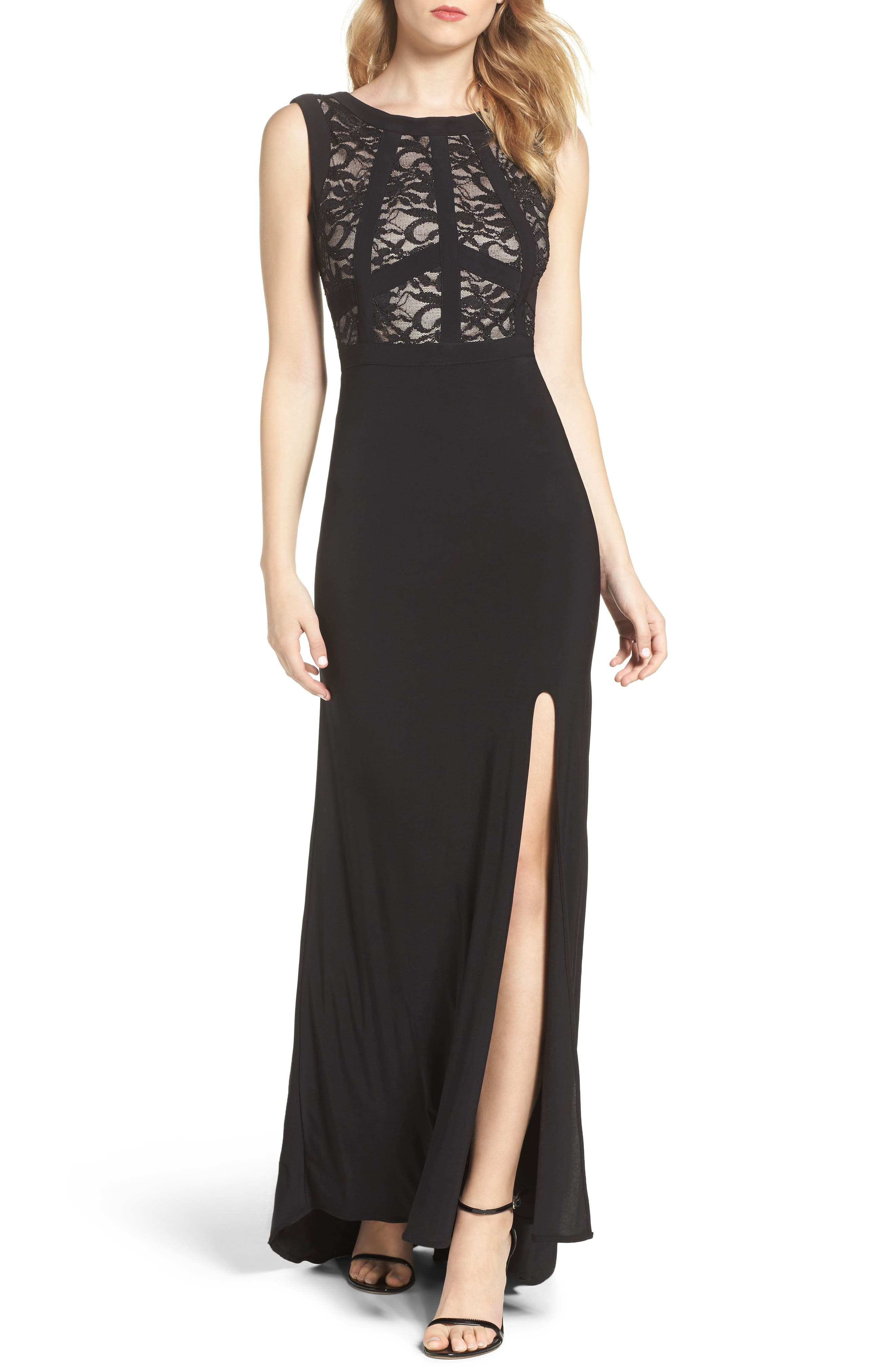 Lace & Jersey Gown,                             Main thumbnail 1, color,                             Black/ Nude