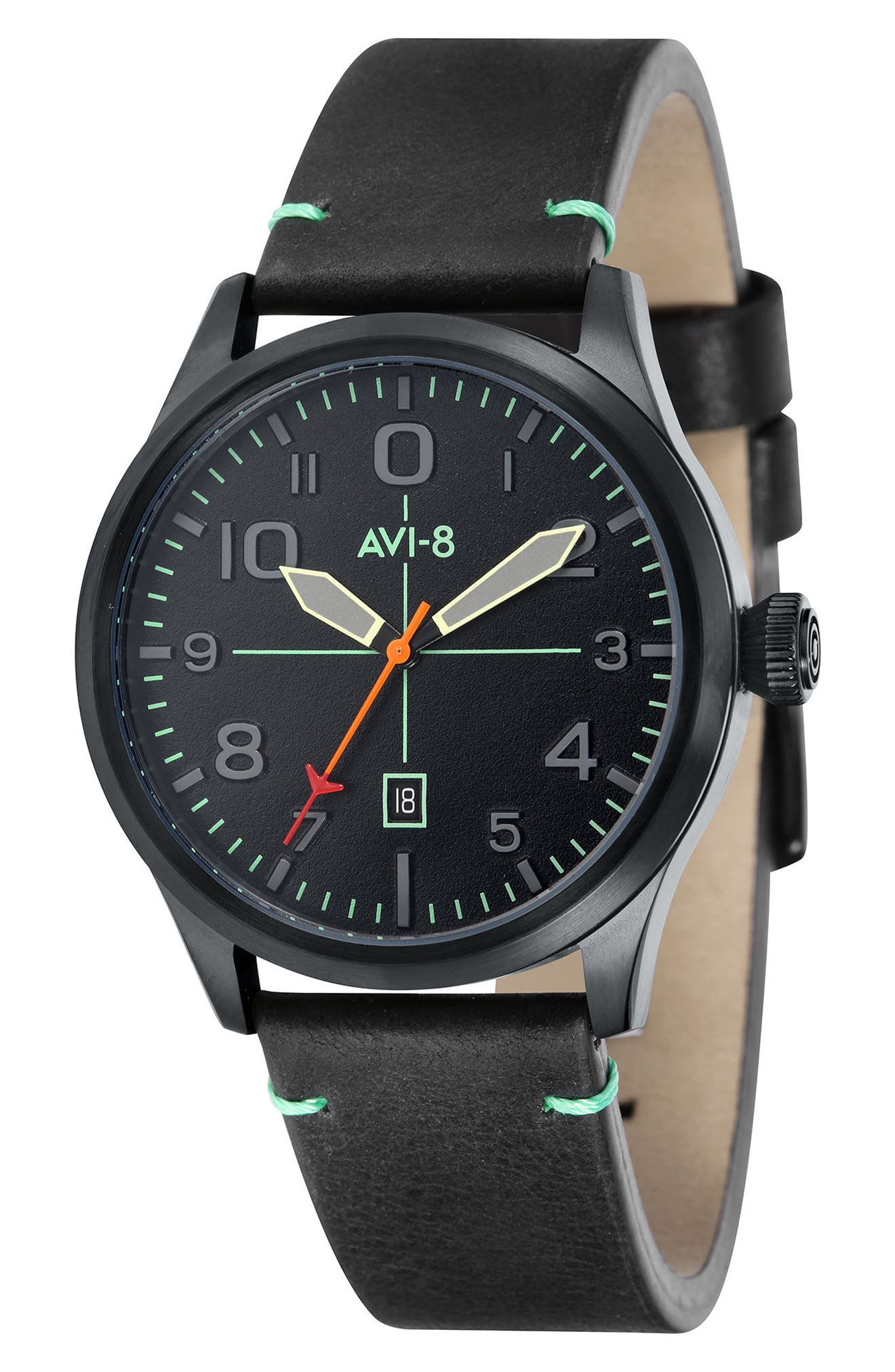 Flyboy Leather Strap Watch, 43mm,                             Main thumbnail 1, color,                             Black/ Black