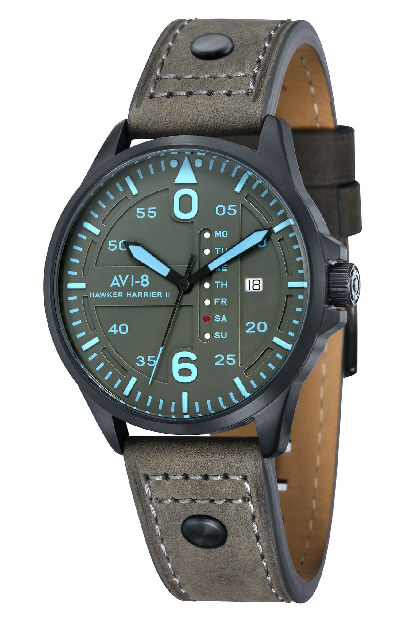 Hawker Harrier II Leather Strap Watch, 45mm,                         Main,                         color, Grey/ Grey