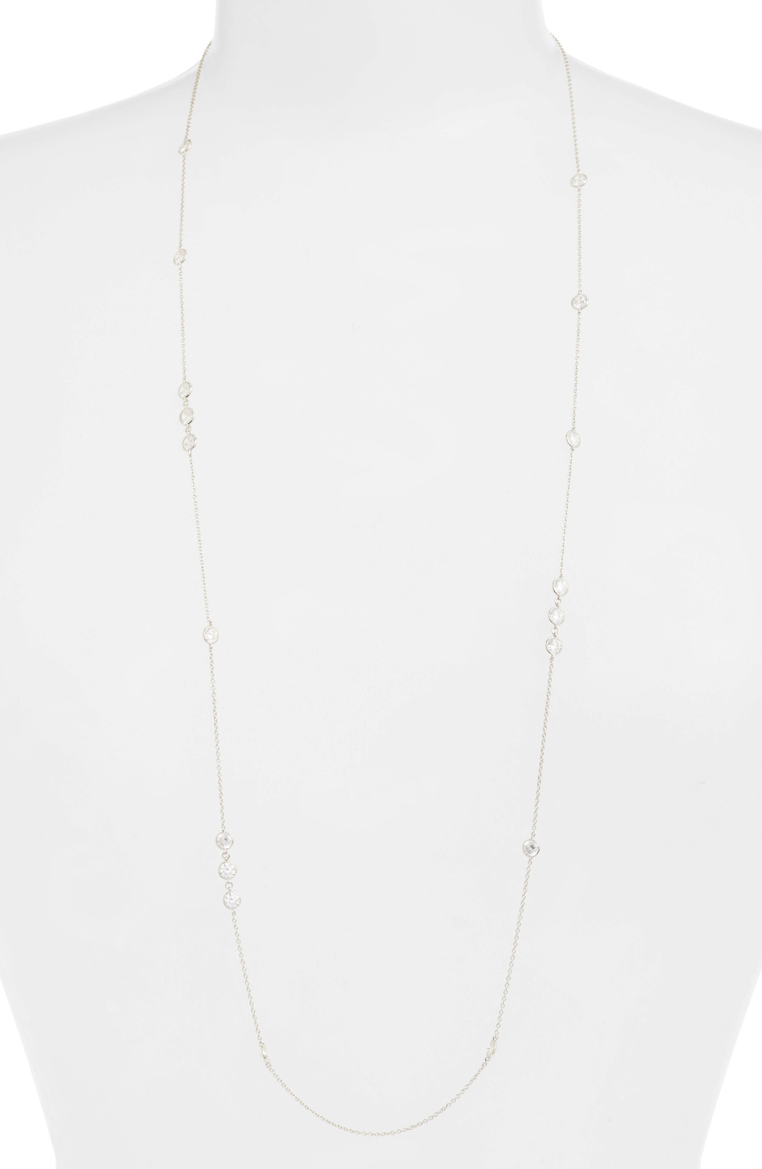 Main Image - Lafonn Long Simulated Diamond Station Necklace