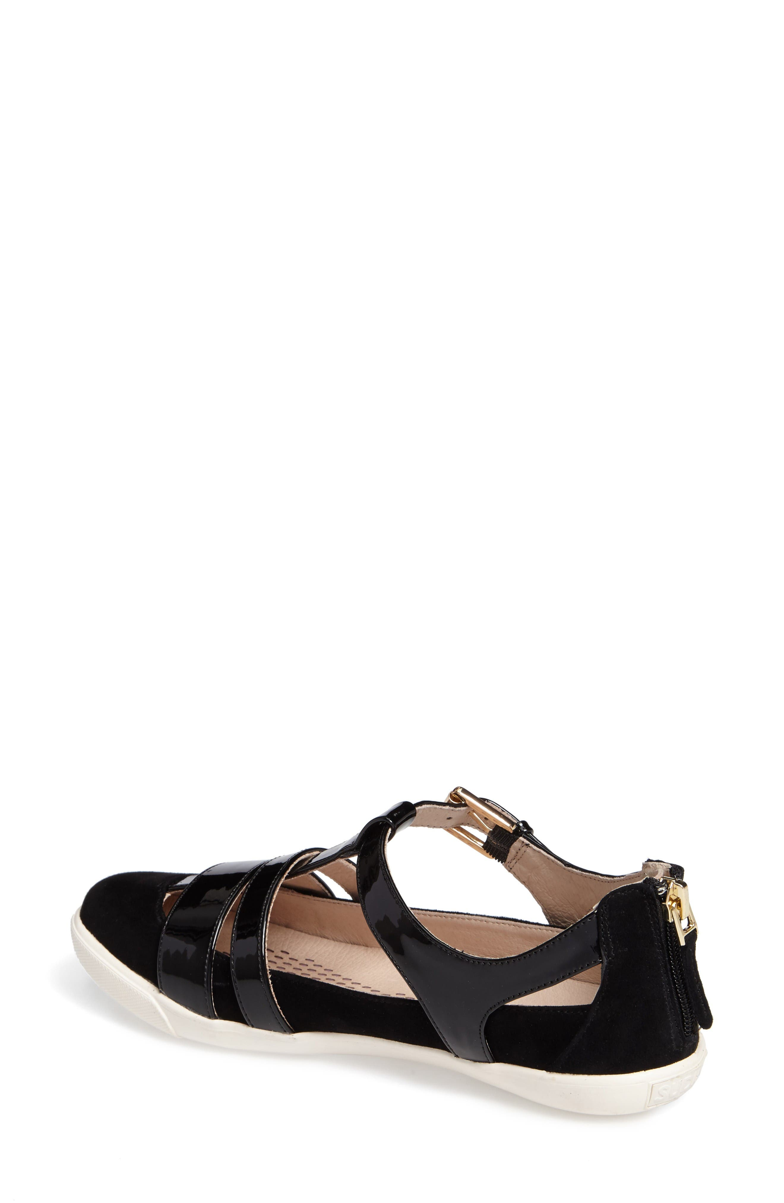 Iona Strappy Sneaker,                             Alternate thumbnail 2, color,                             Black Leather