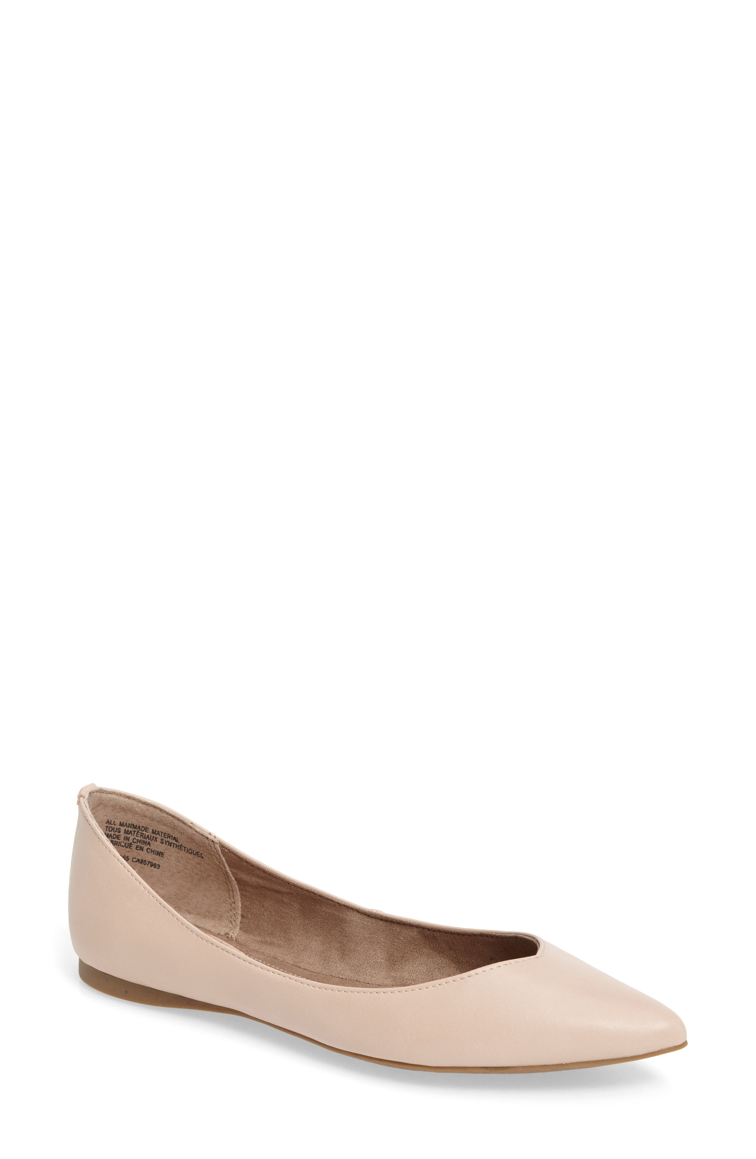 'Moveover' Pointy Toe Flat,                             Main thumbnail 1, color,                             Blush Faux Leather