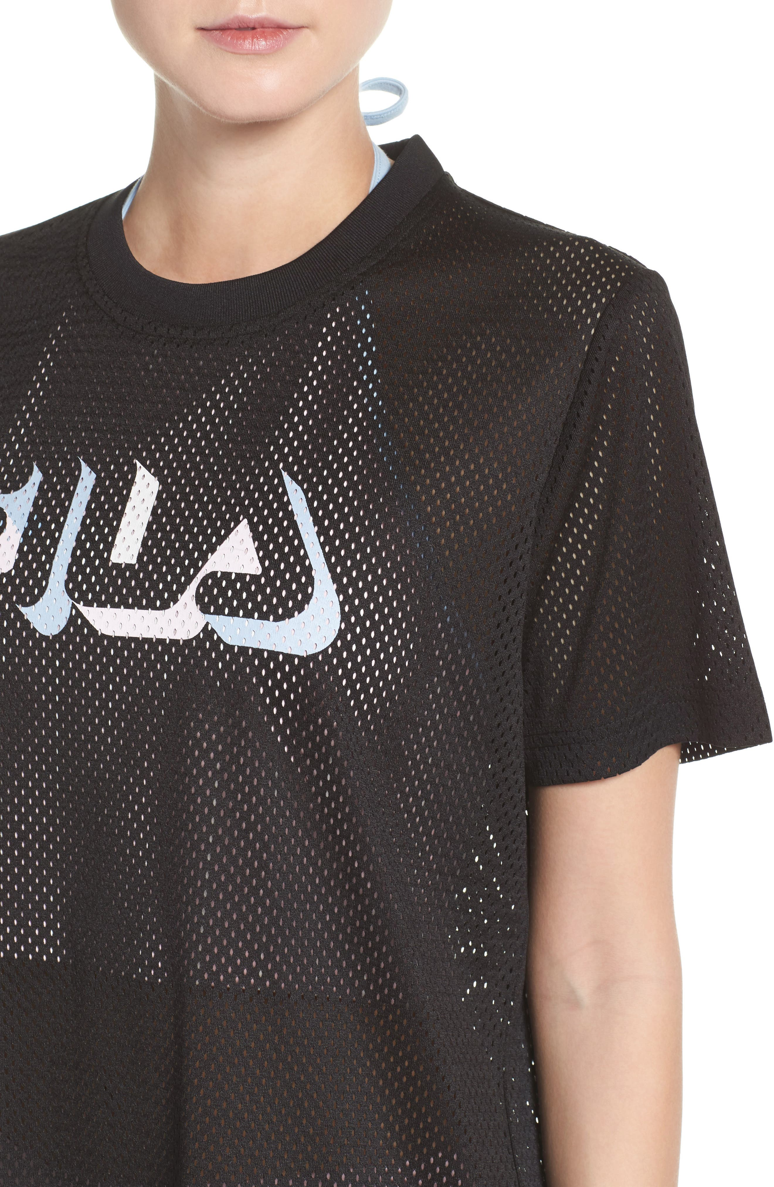 Liona Mesh Tee,                             Alternate thumbnail 4, color,                             Black