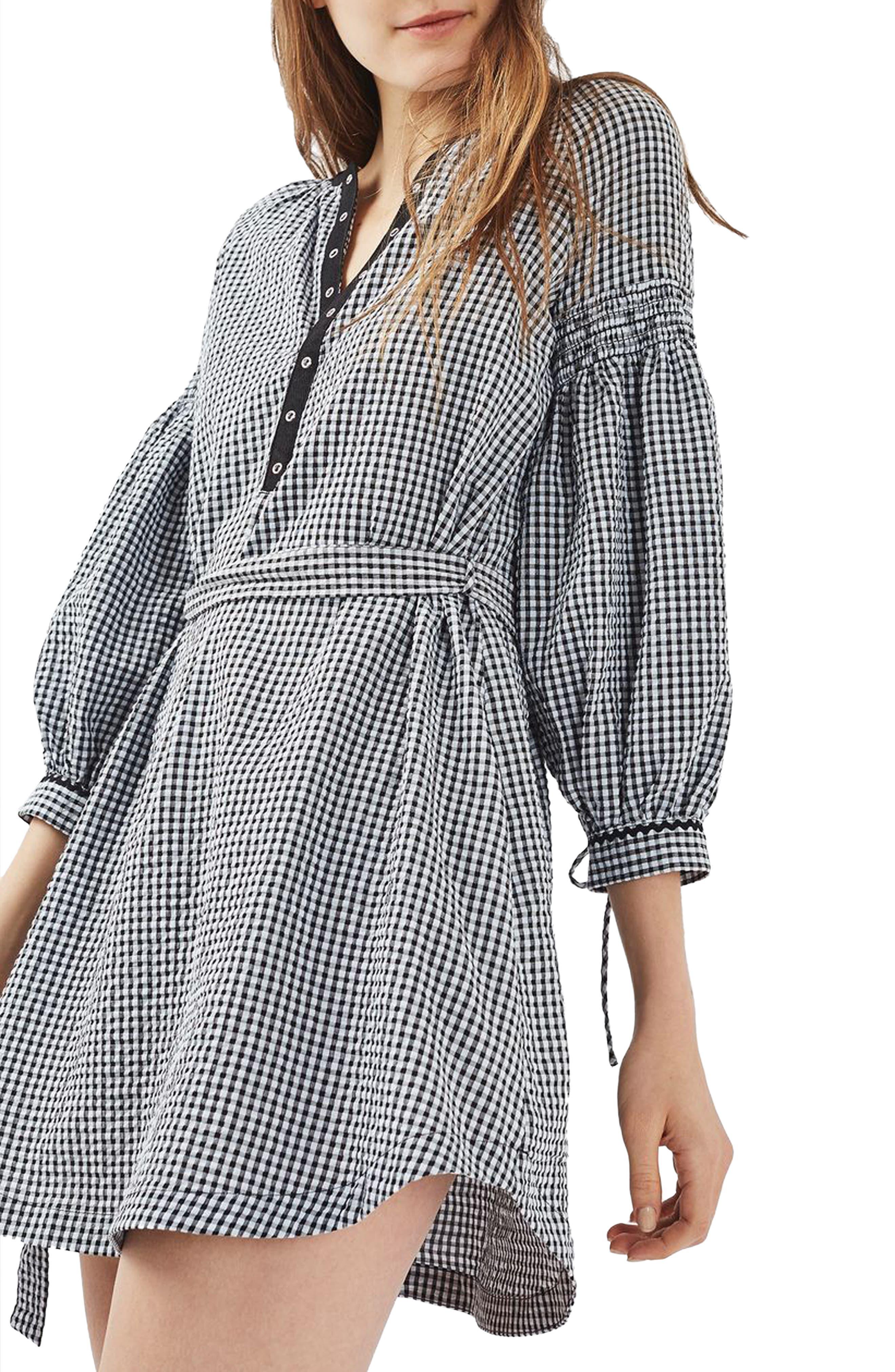 Alternate Image 1 Selected - Topshop Gingham Smock Dress