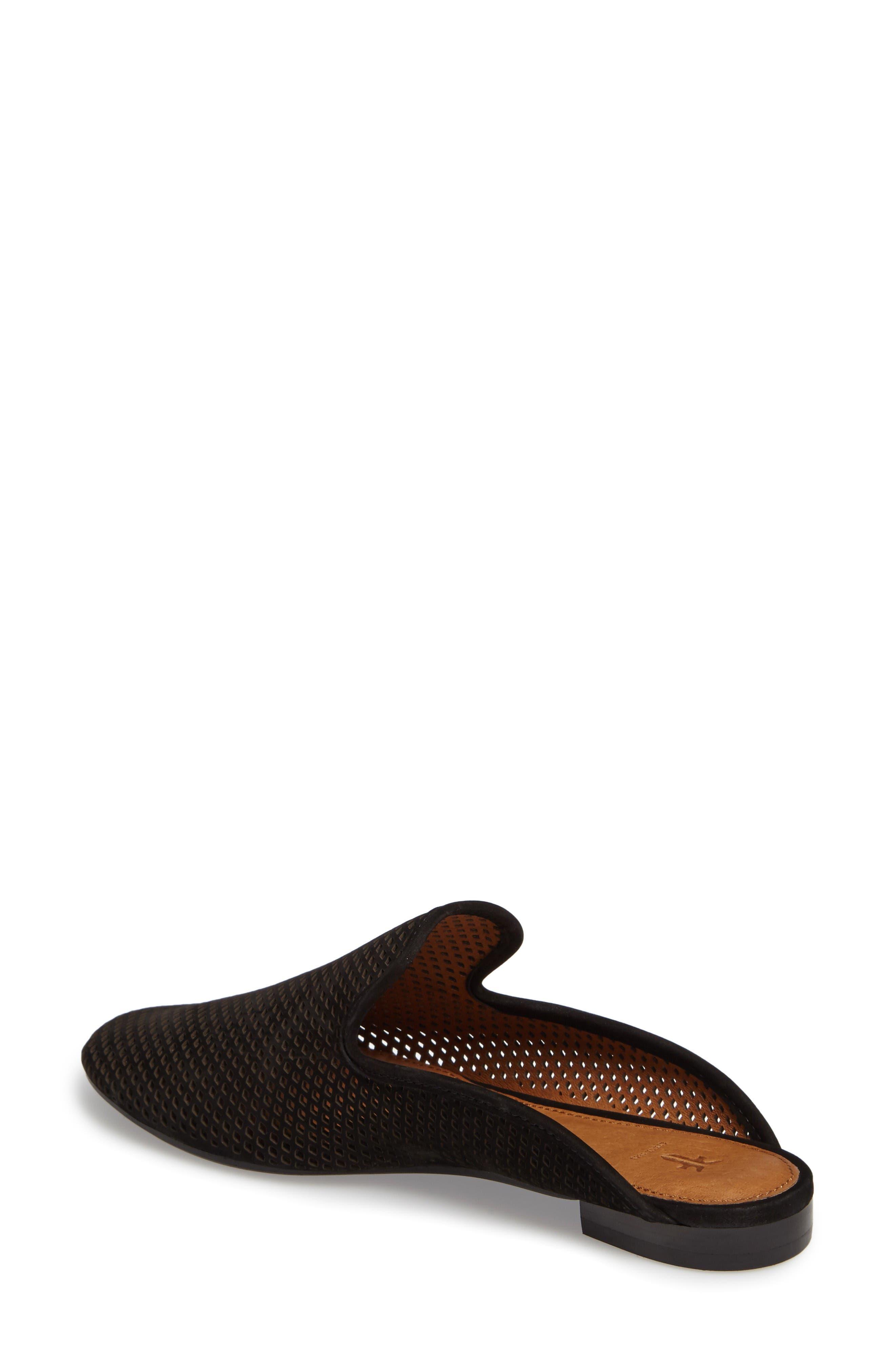 Gwen Perforated Mule,                             Alternate thumbnail 2, color,                             Black Nubuck Leather