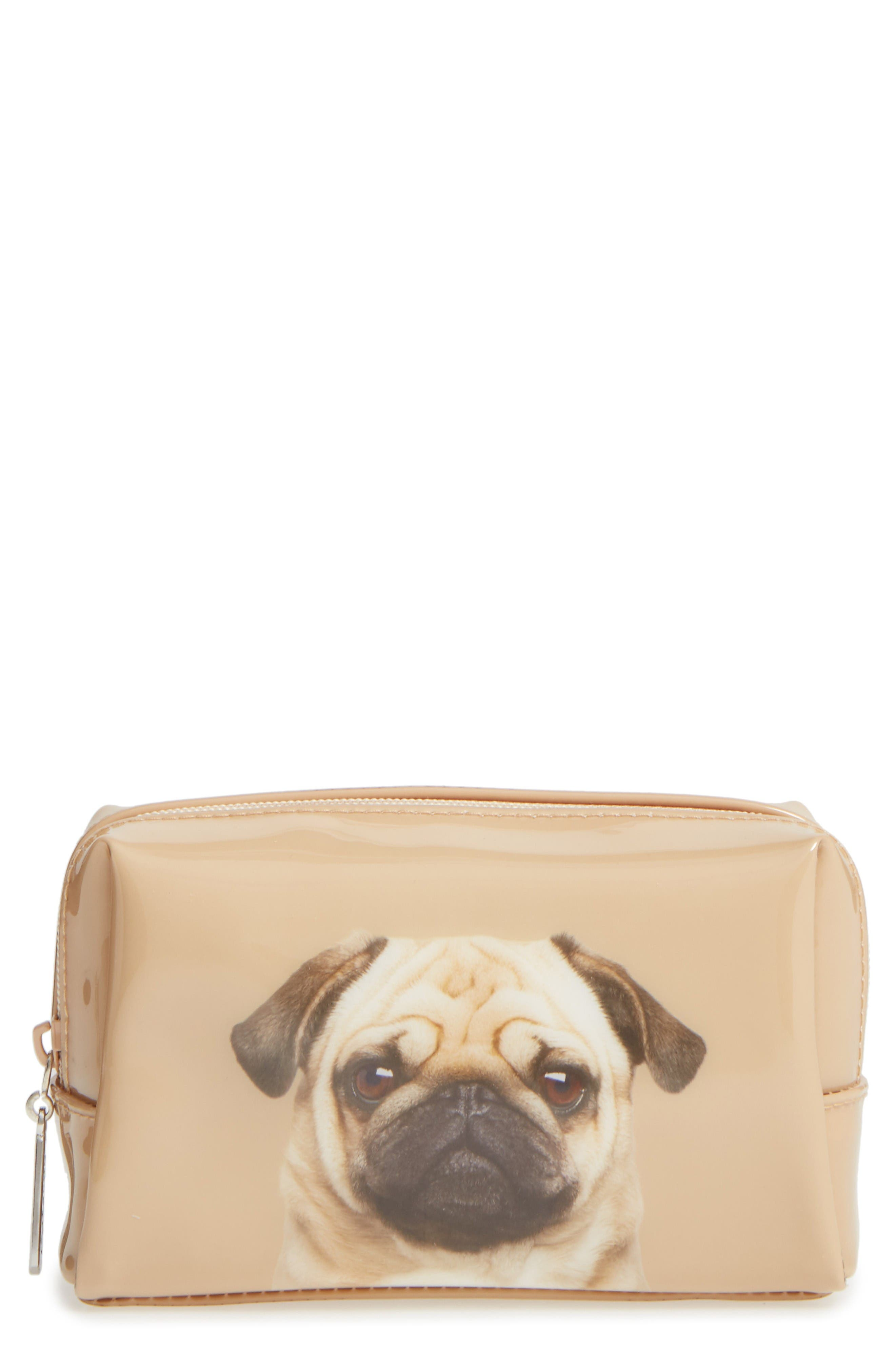 Caramel Pug Cosmetics Case,                         Main,                         color, Pug On Caramel