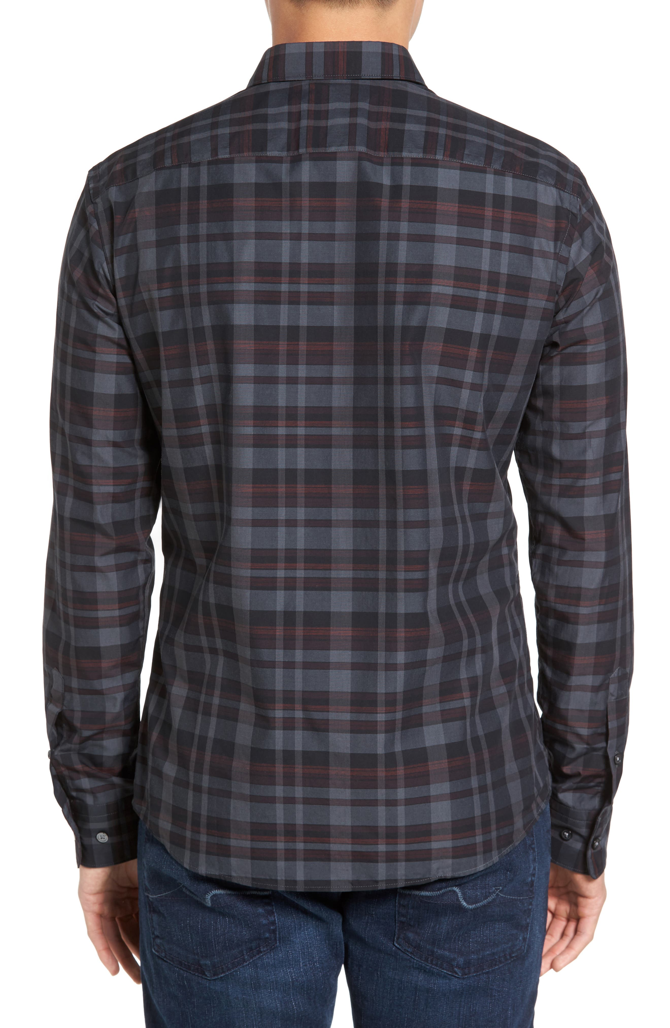 Trim Fit Check Sport Shirt,                             Alternate thumbnail 3, color,                             Dark Red